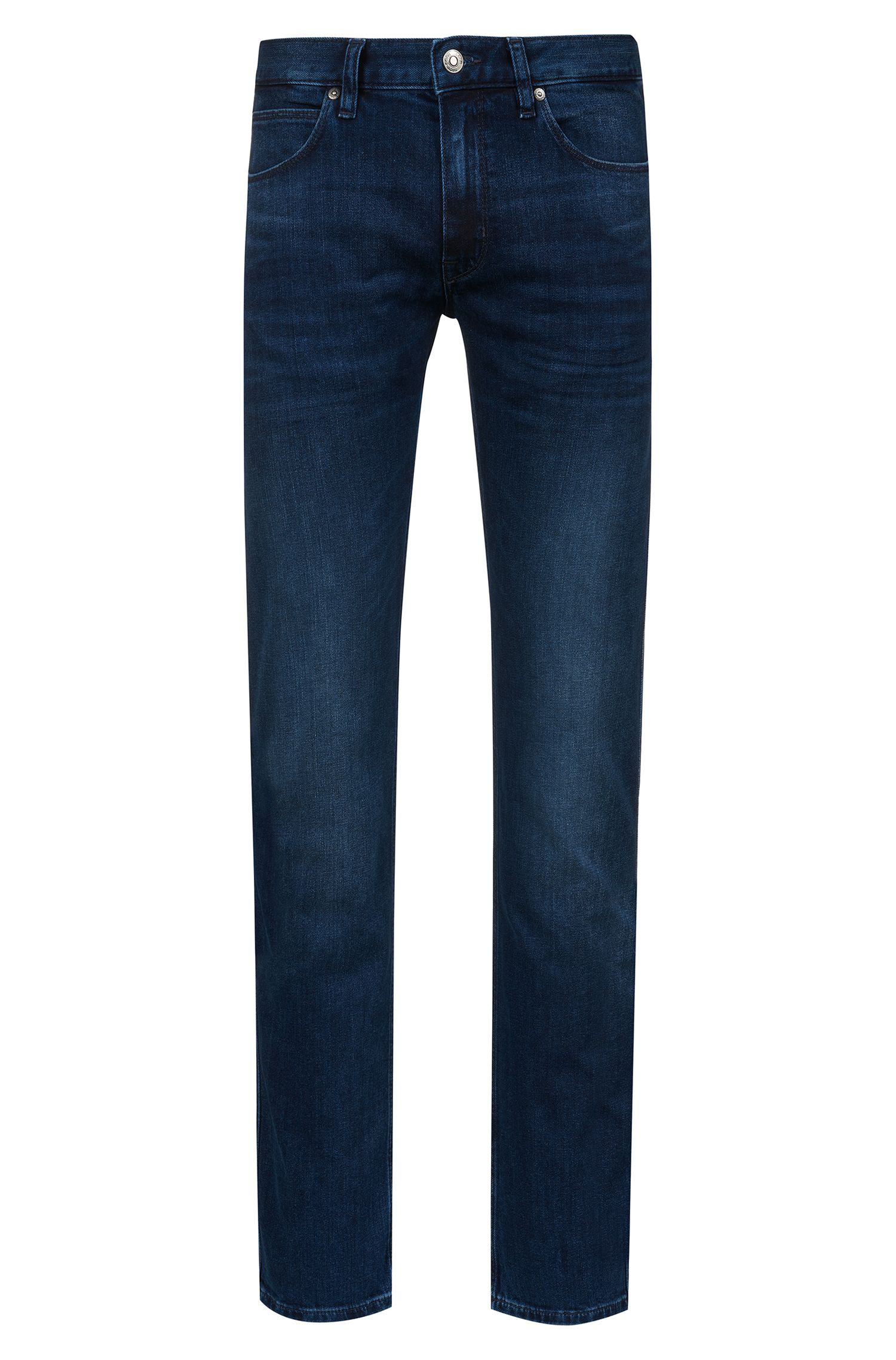 Slim-fit low-rise jeans in stretch denim, Blue
