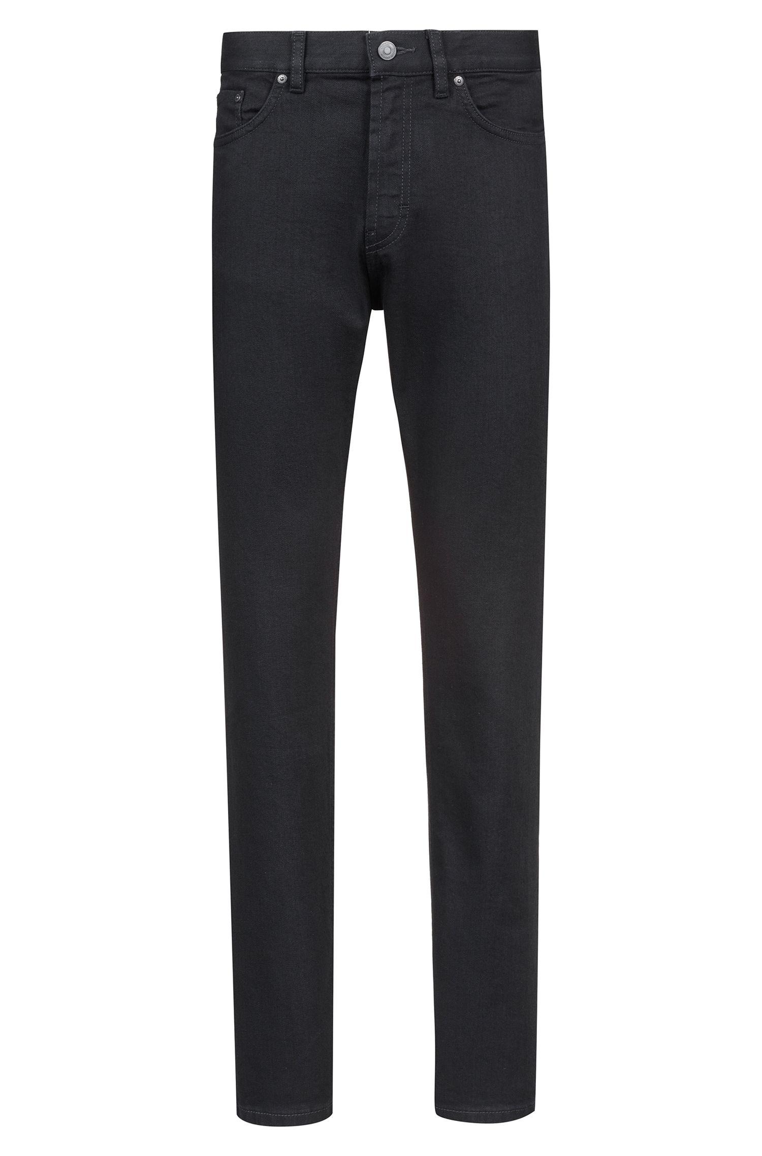 Straight-leg jeans in soft-washed black stretch denim, Black