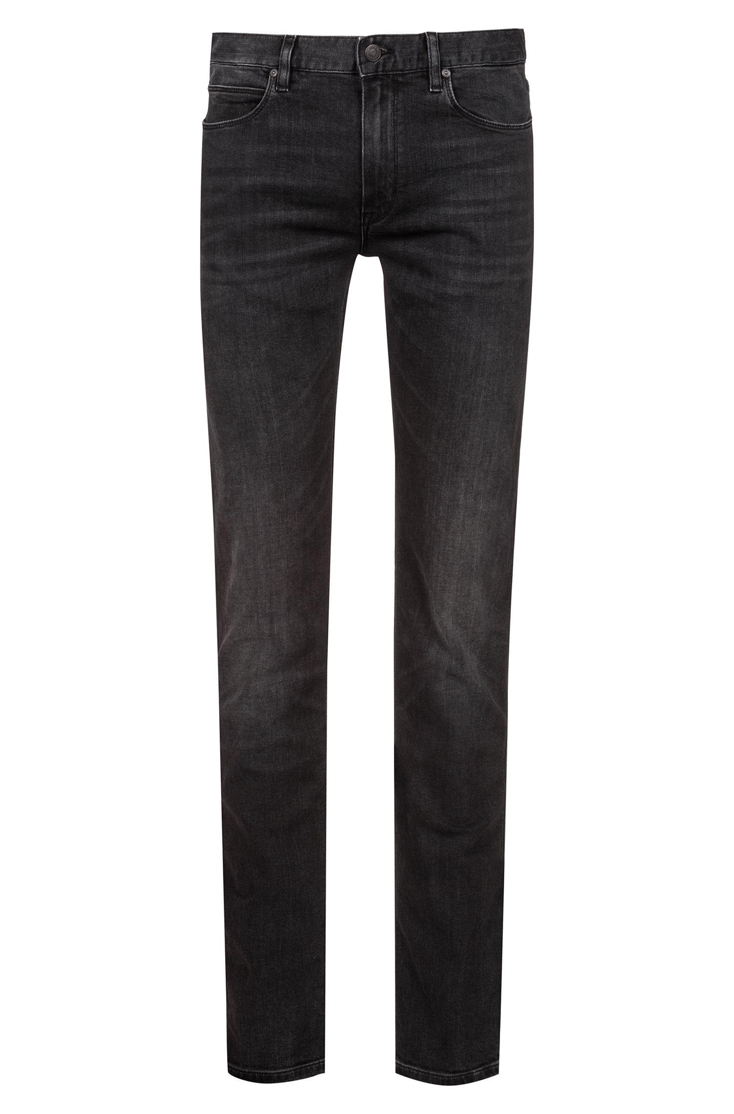 Slim-fit jeans in dark-gray stretch denim