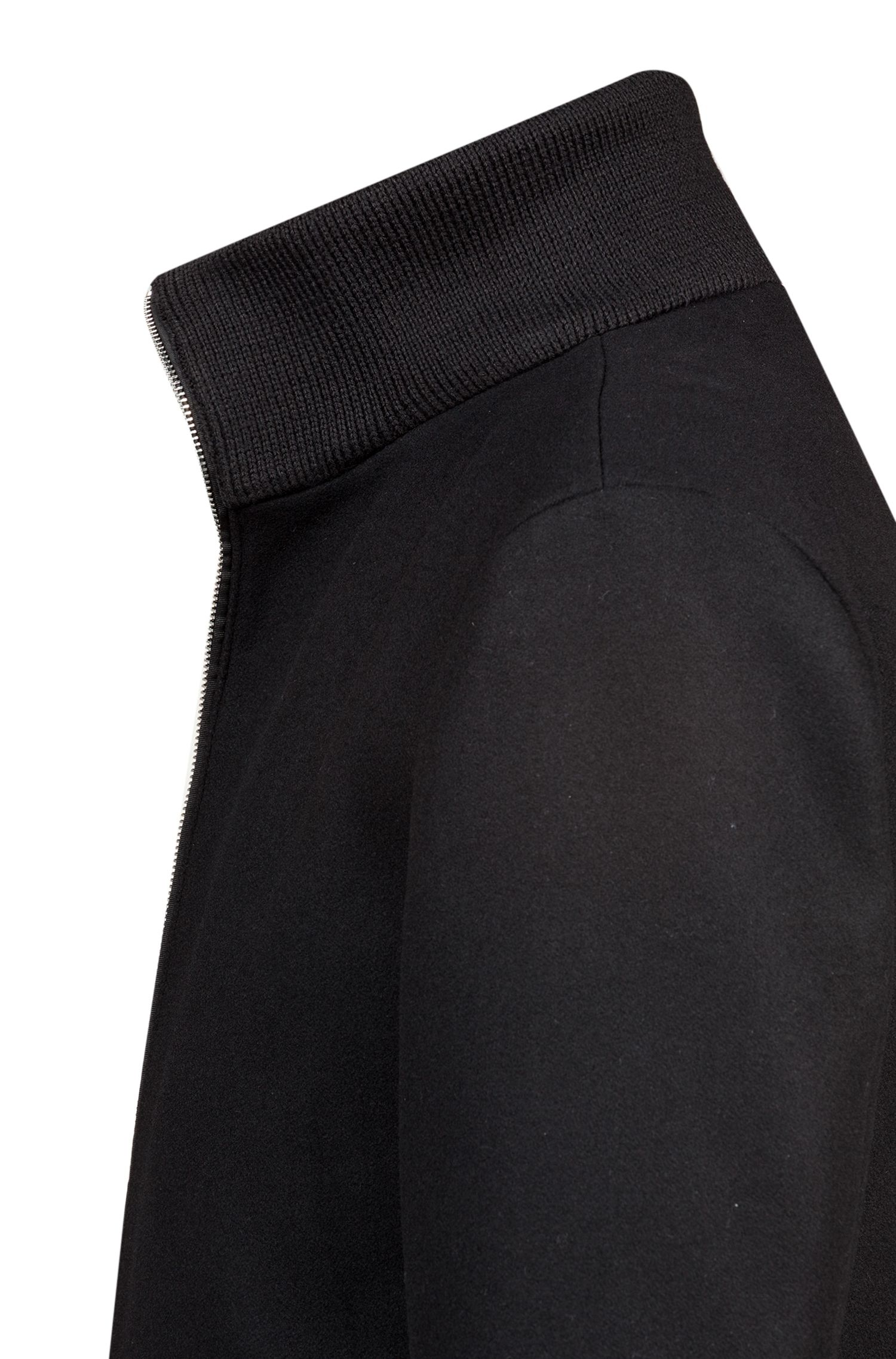Wool-blend coat with zippered front, Black