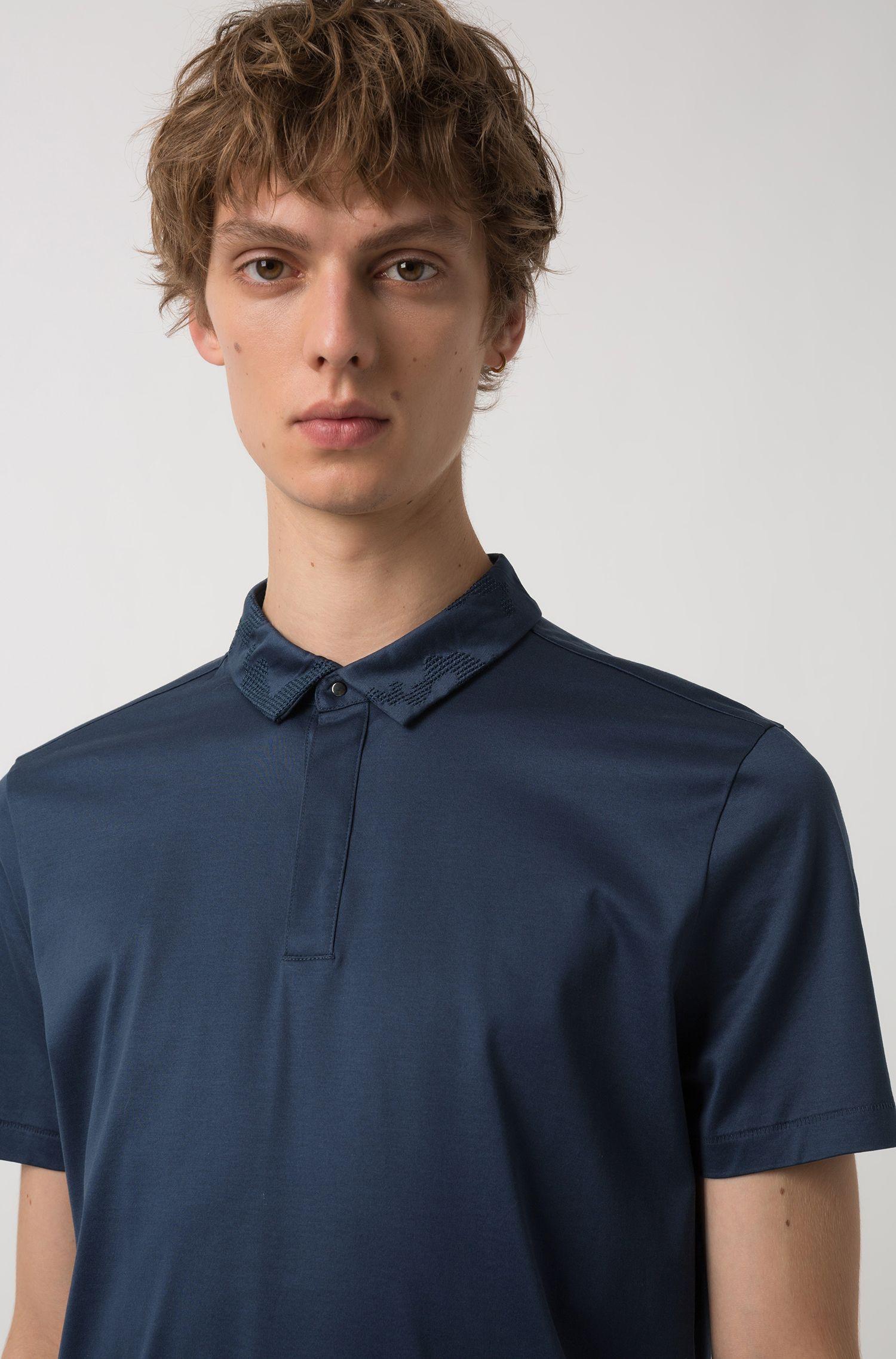 Slim-fit polo shirt in mercerized single-jersey cotton, Dark Blue