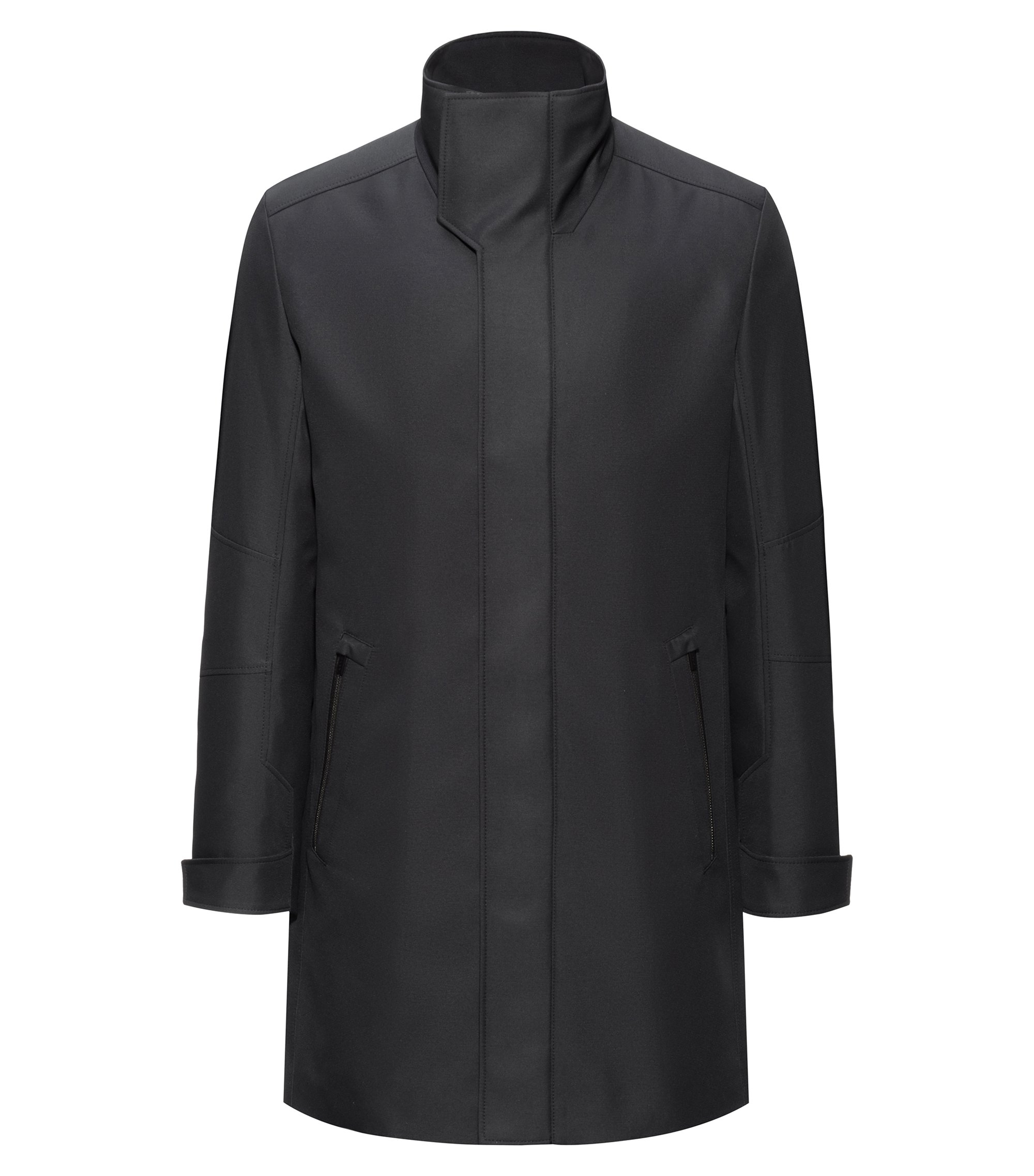 Slim-fit padded coat in a water-repellent fabric, Black