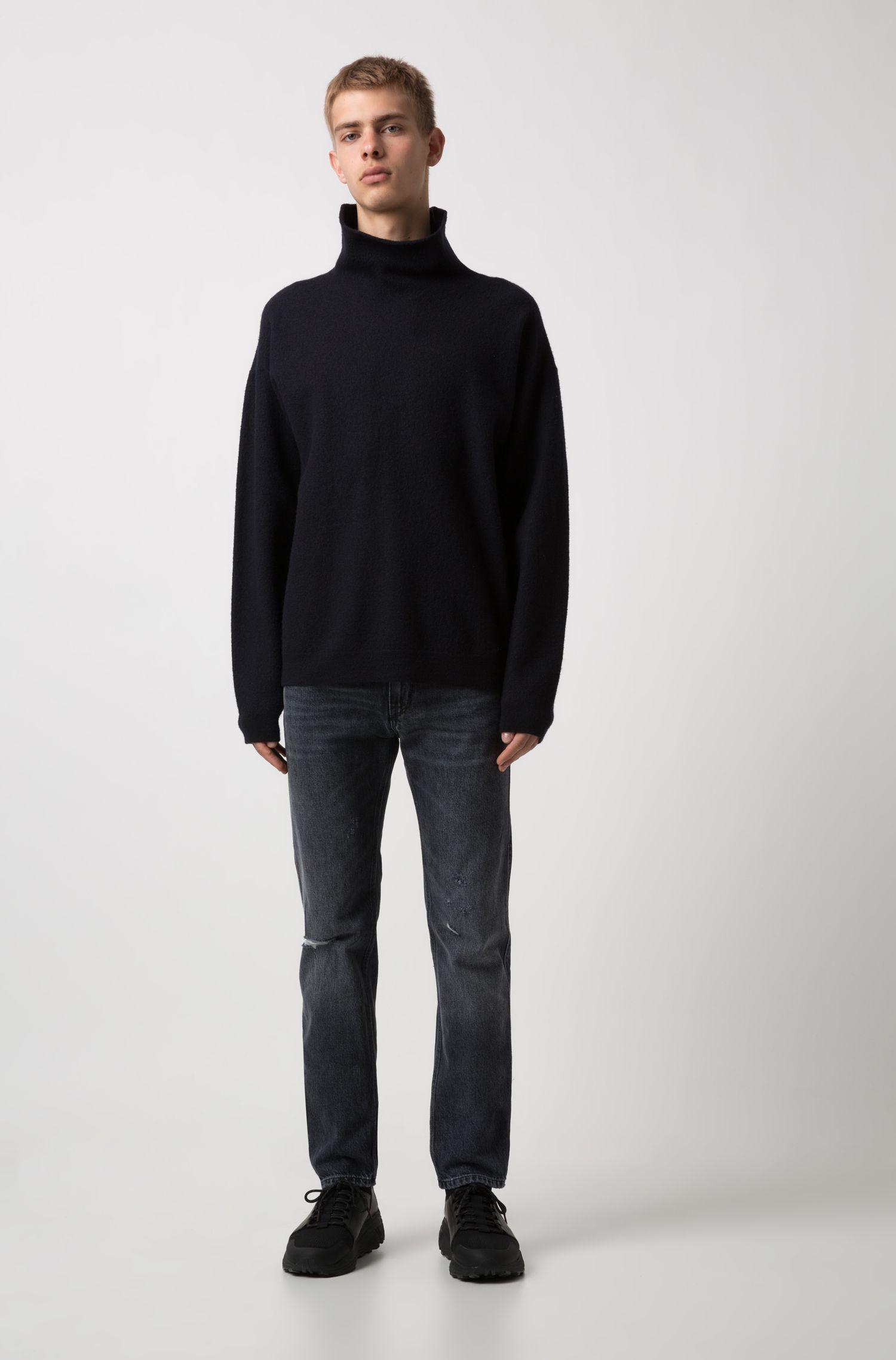 Slim-fit low-rise jeans in Italian denim, Charcoal