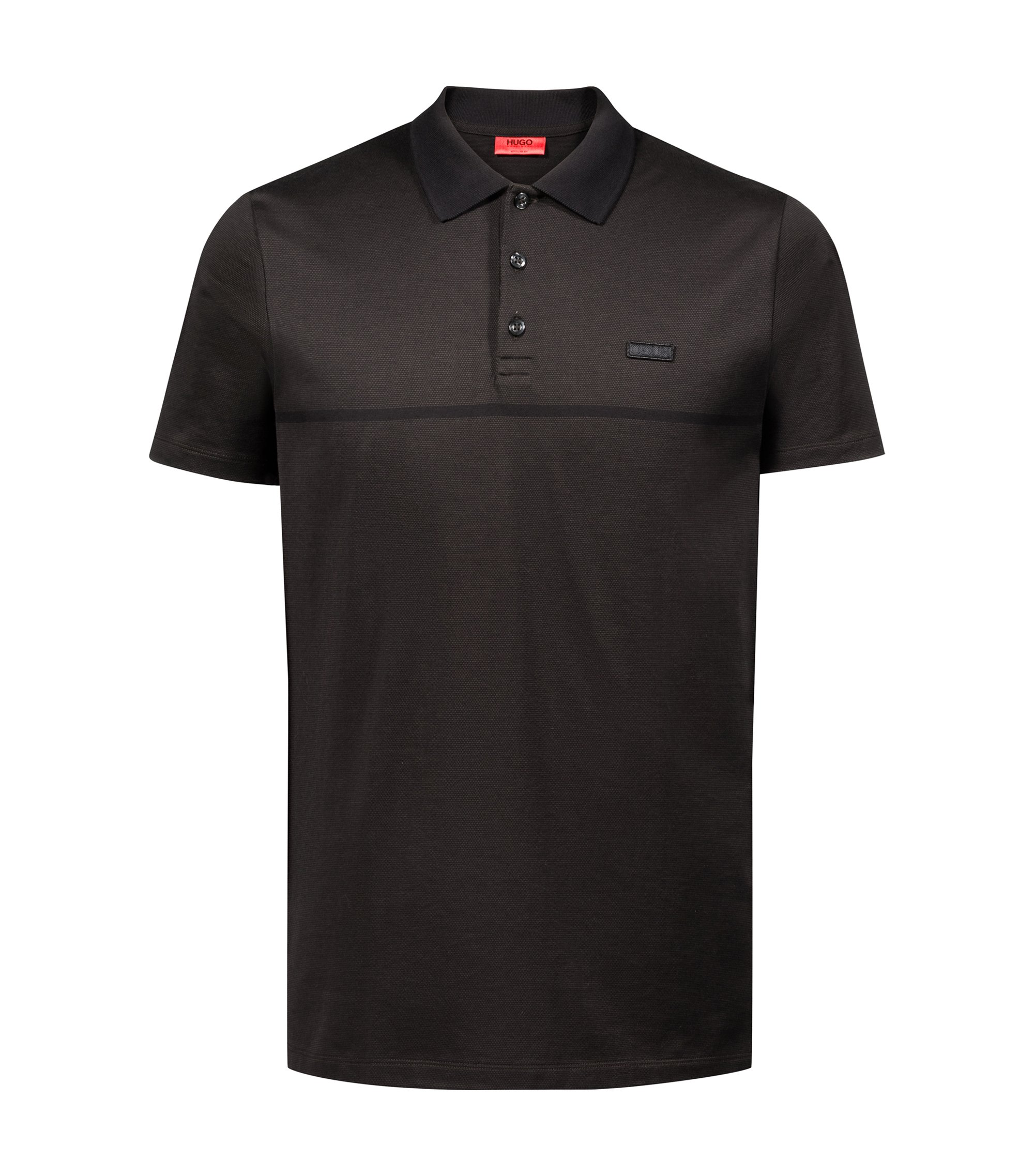 Regular-fit polo shirt in cotton jacquard with tonal stripe, Dark Green
