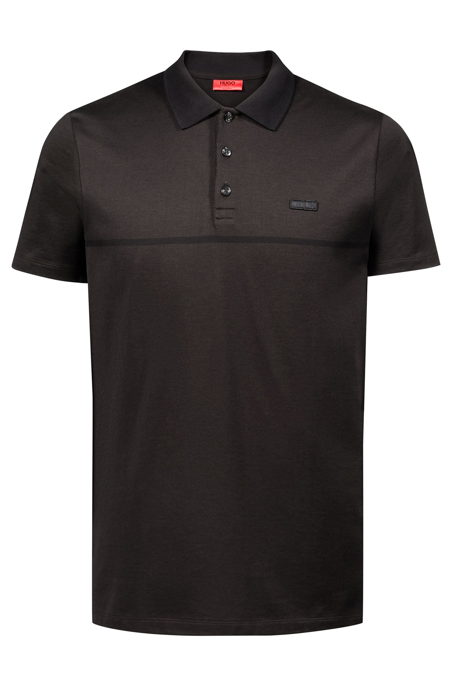 Regular-fit polo shirt in cotton jacquard with tonal stripe, Dark Green