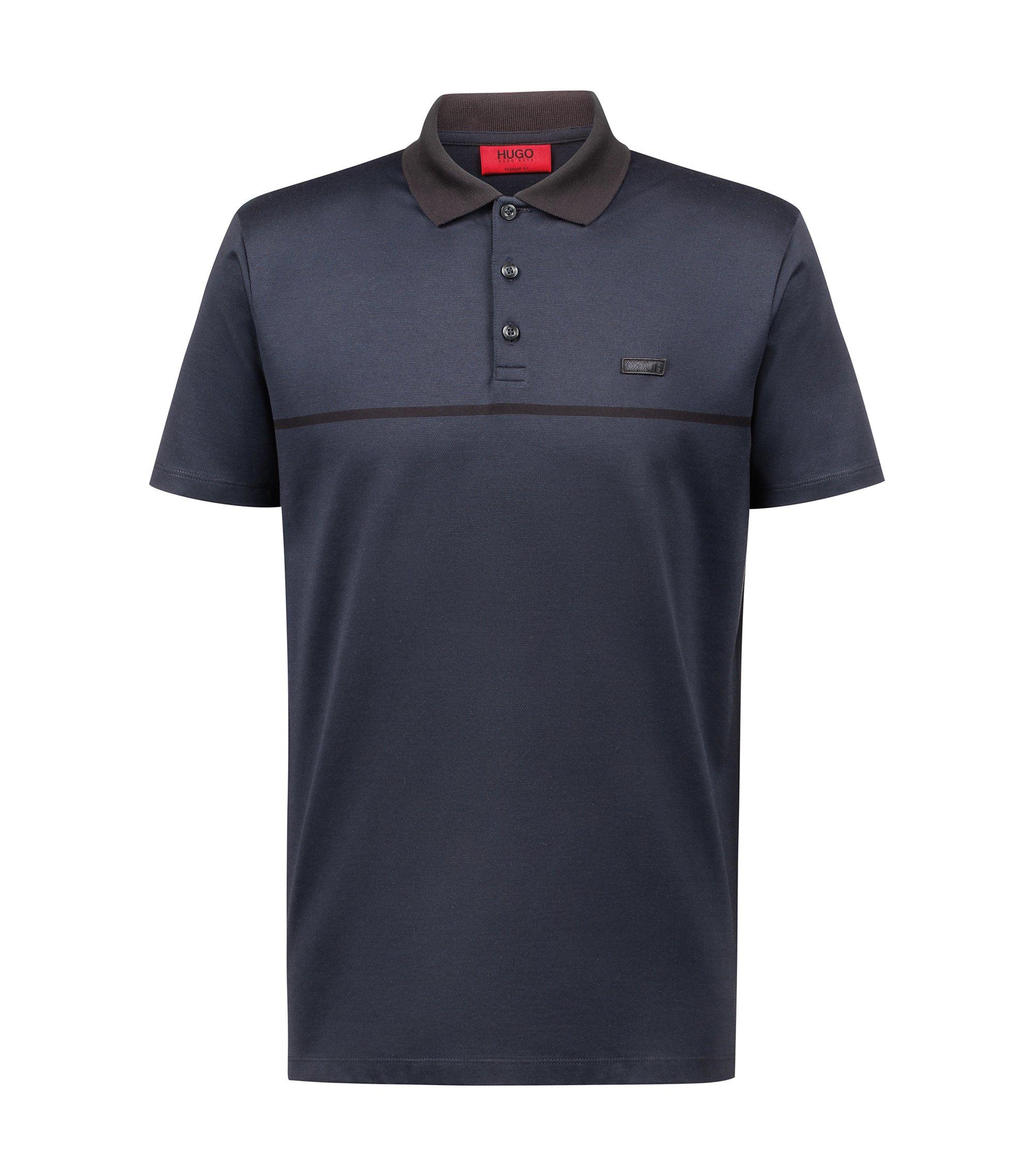 Regular-fit polo shirt in cotton jacquard with tonal stripe, Dark Blue