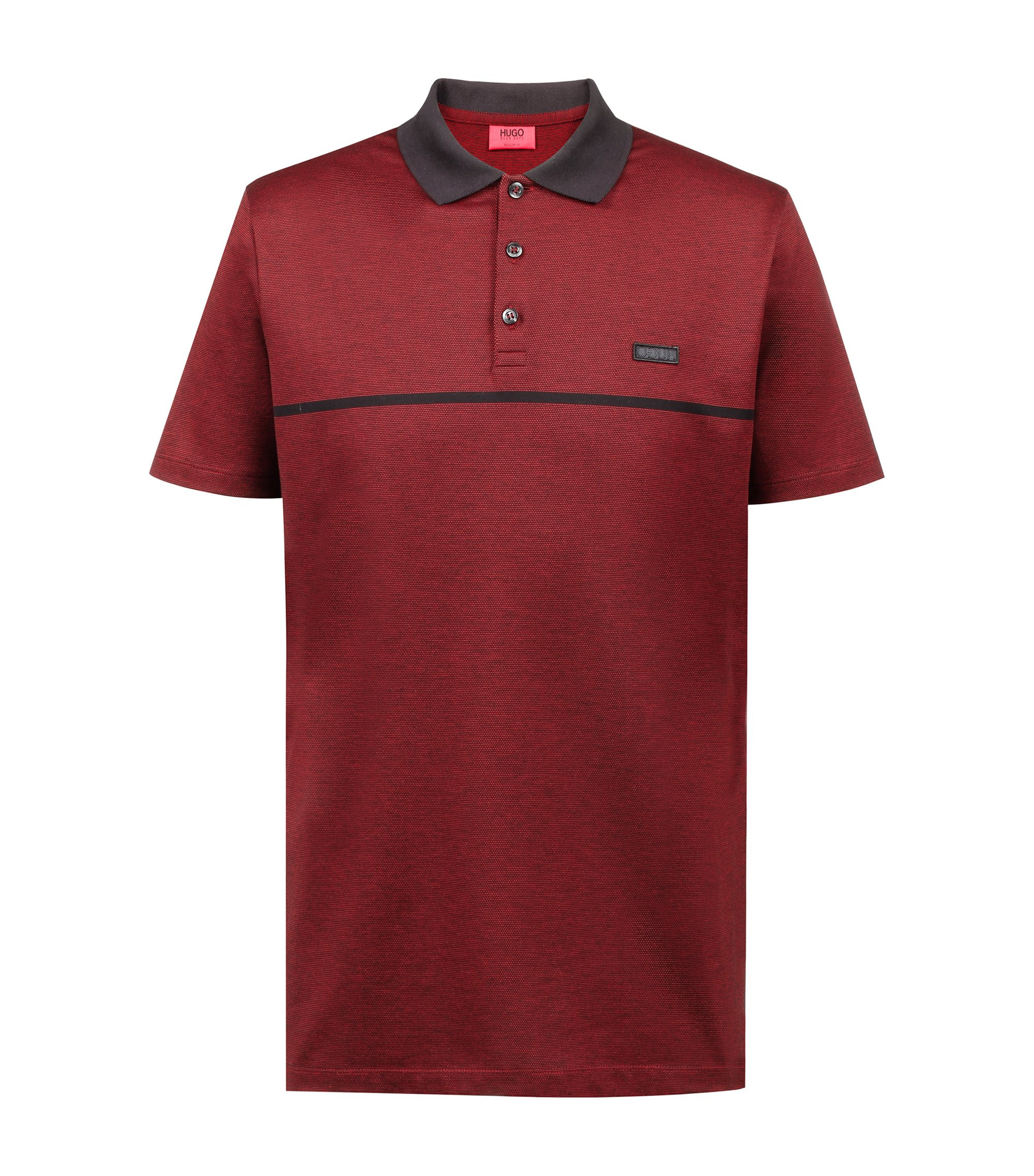 Regular-fit polo shirt in cotton jacquard with tonal stripe, Red