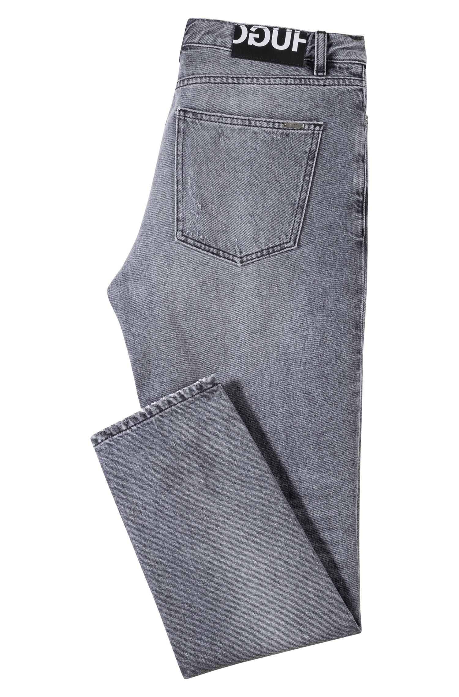 Tapered-fit jeans in gray Italian denim, Dark Grey