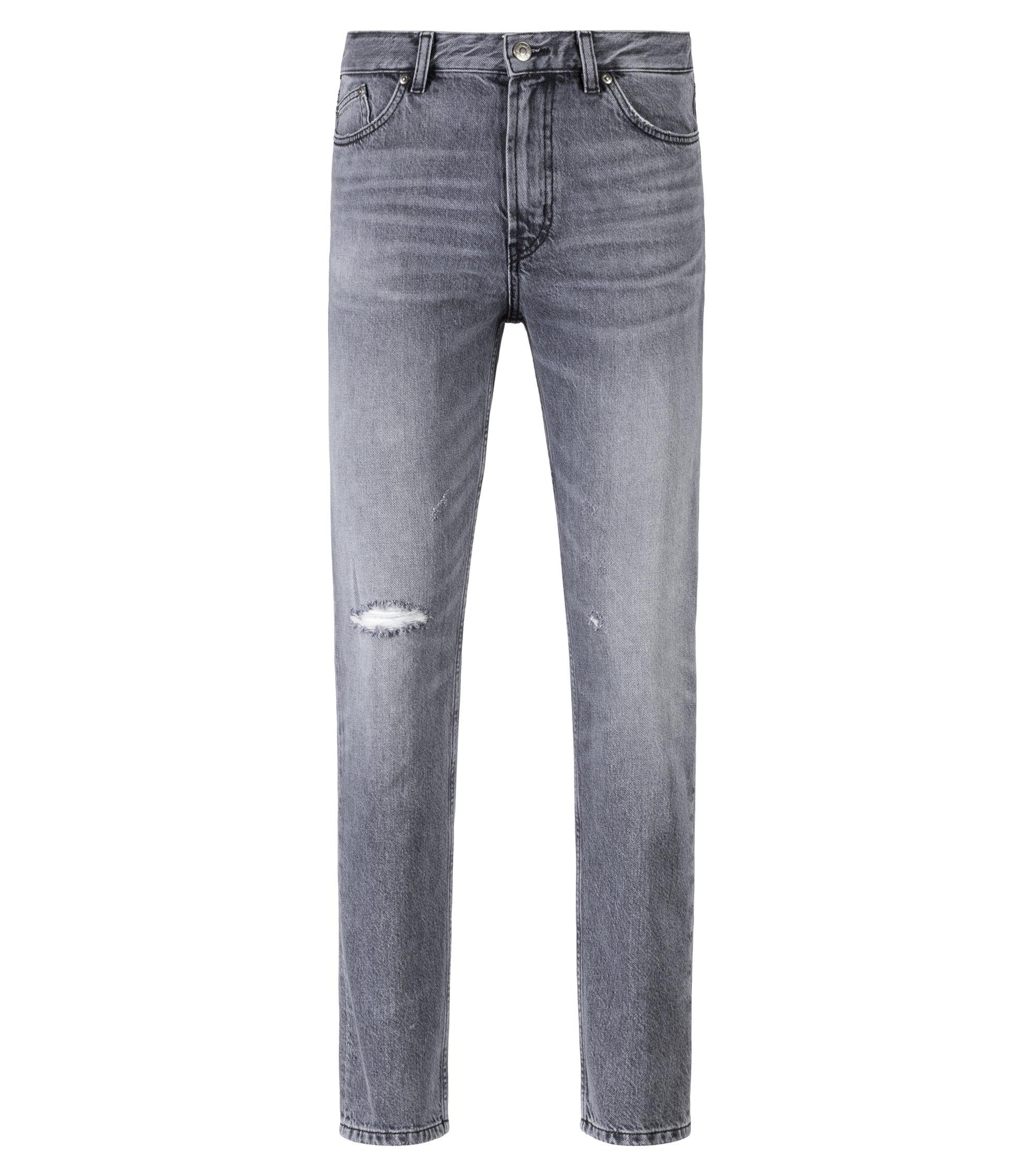 Tapered-fit jeans in gray Italian denim, Dark Grey