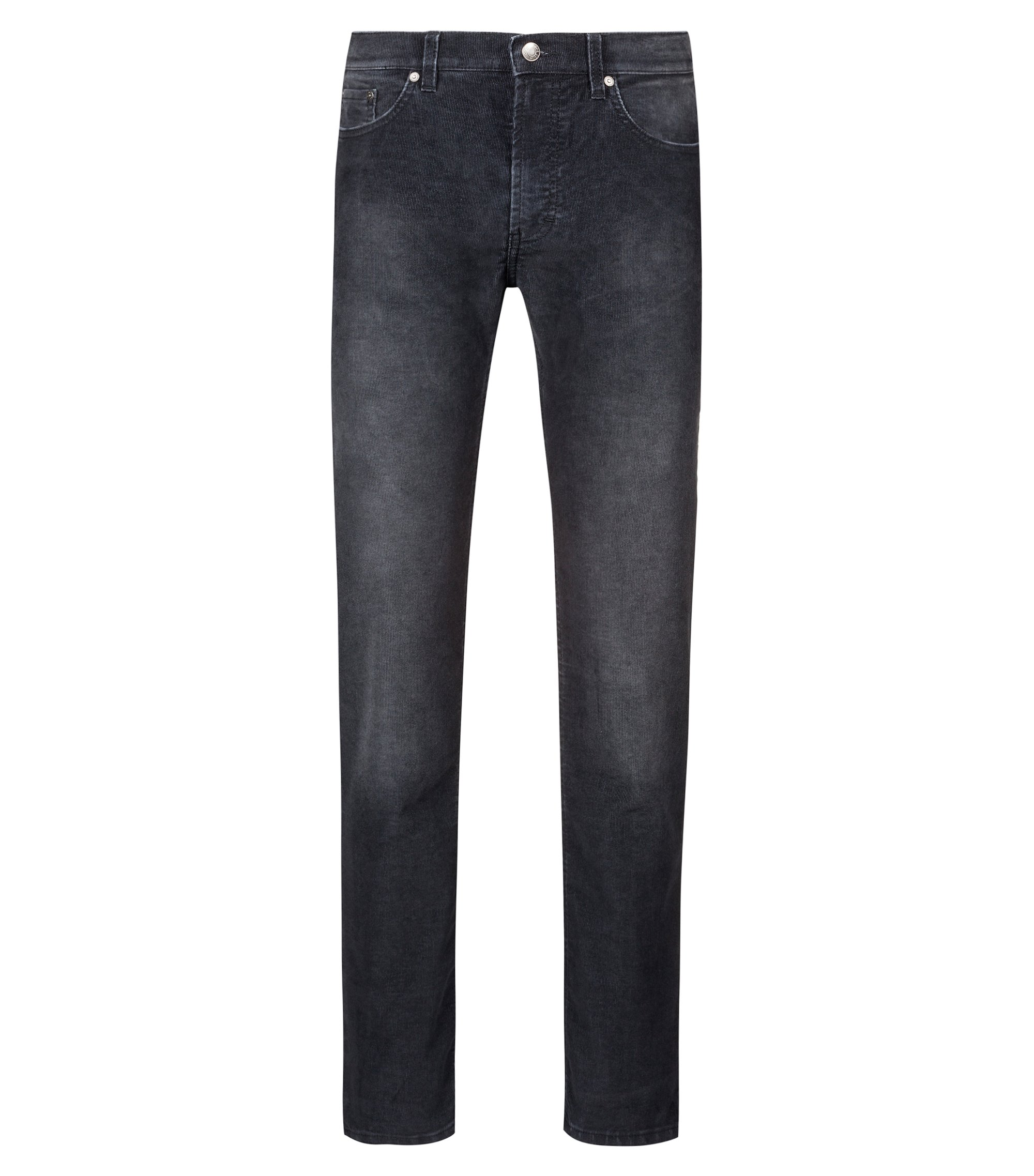 Straight-leg jeans in superfine corduroy, Charcoal