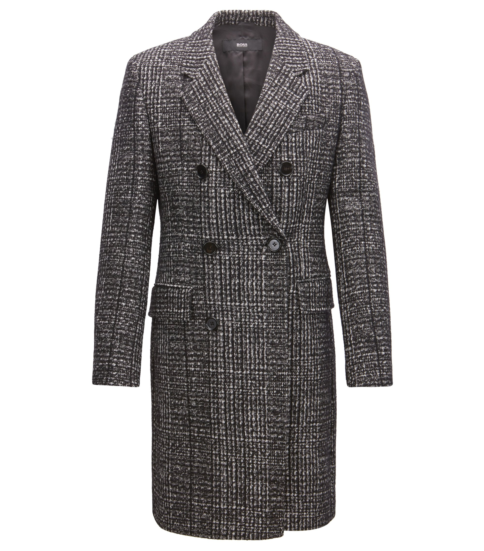 Double-breasted coat in melange fabric, Open Grey