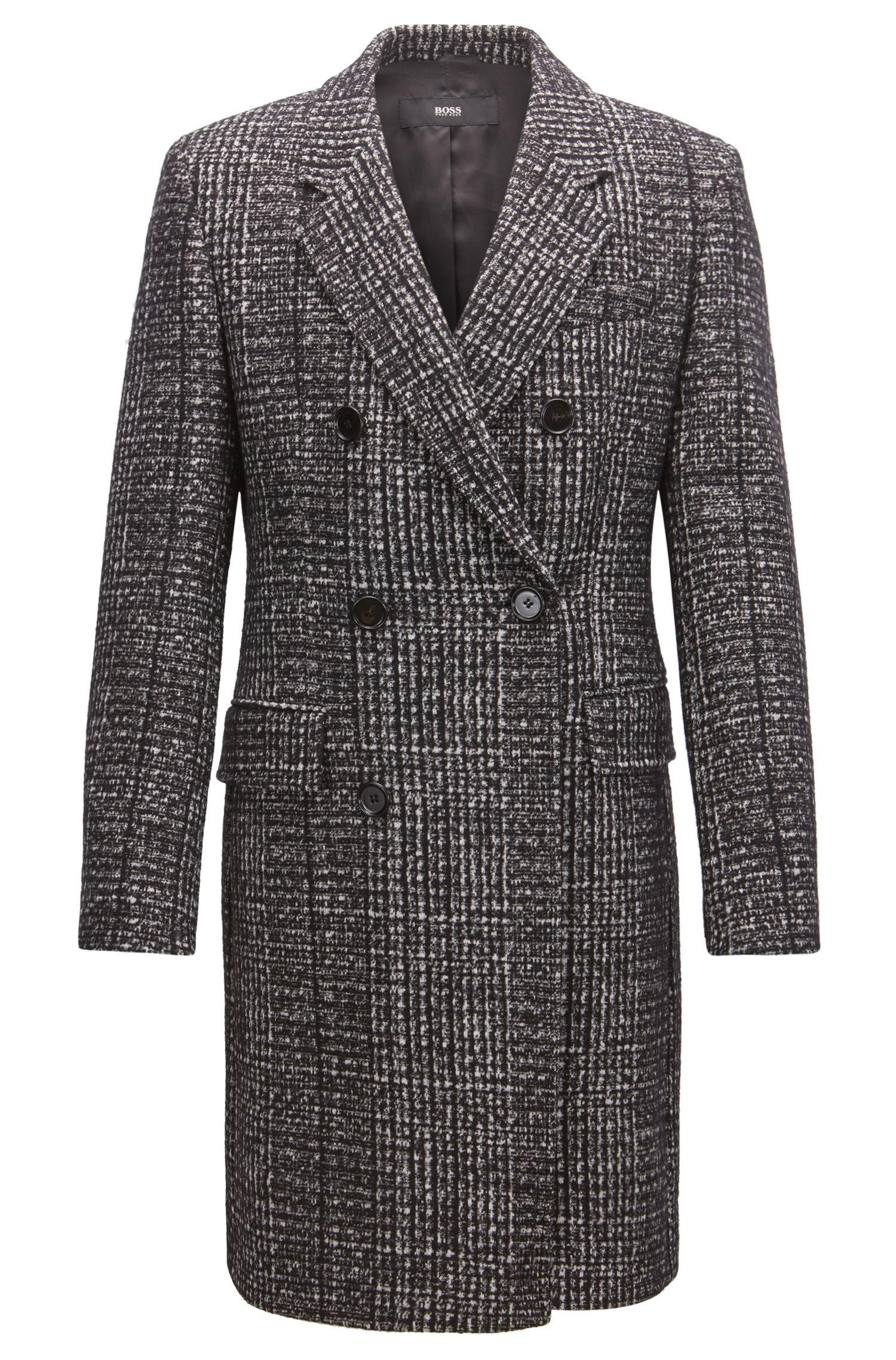 Double-breasted coat in melange fabric, Open Grey