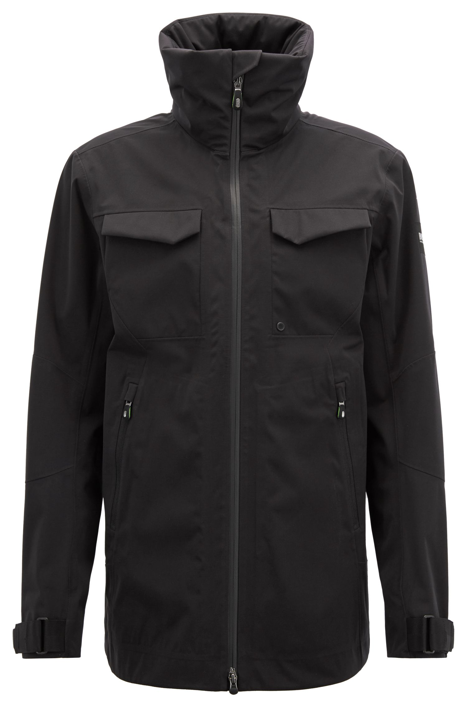 Waterproof softshell jacket with stowaway hood