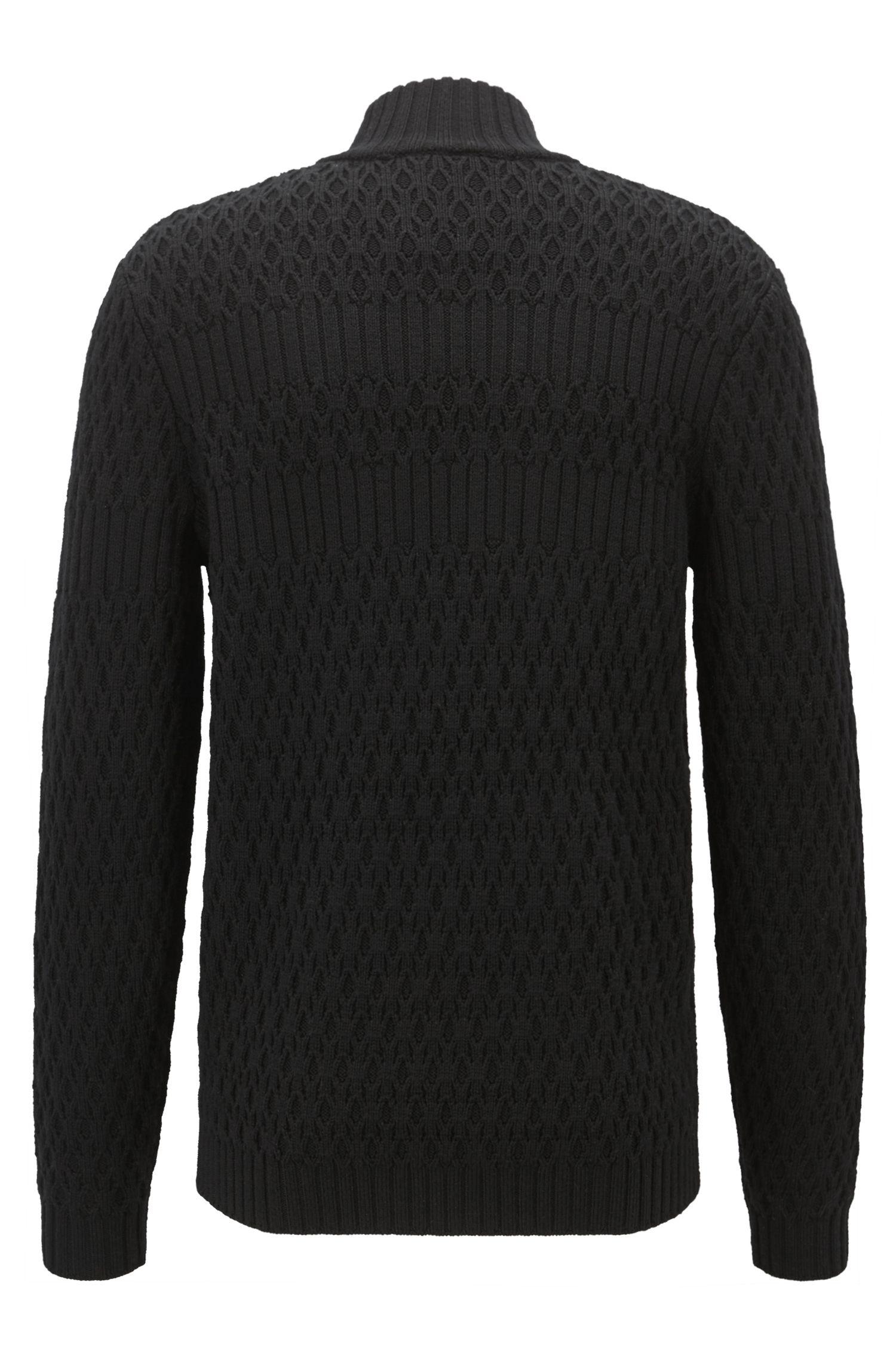 Long-sleeved turtleneck sweater in virgin wool