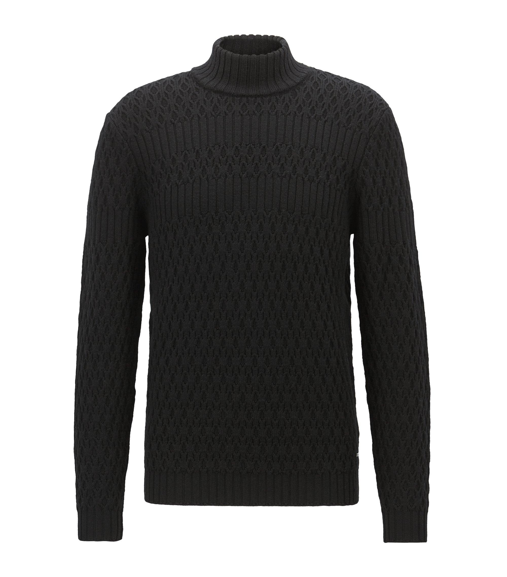 Long-sleeved turtleneck sweater in virgin wool, Black