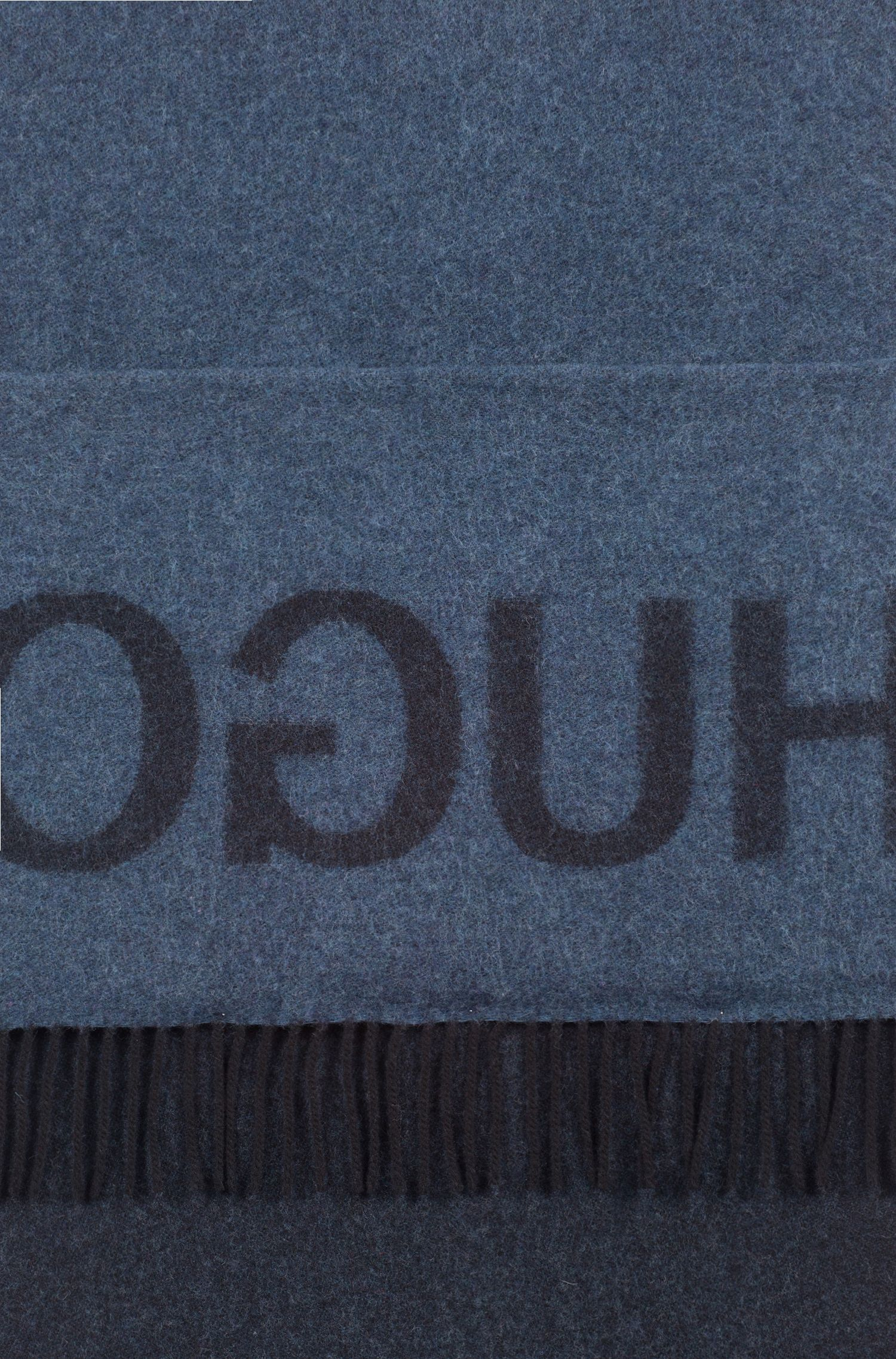 Unisex reverse-logo scarf in a brushed wool blend, Patterned