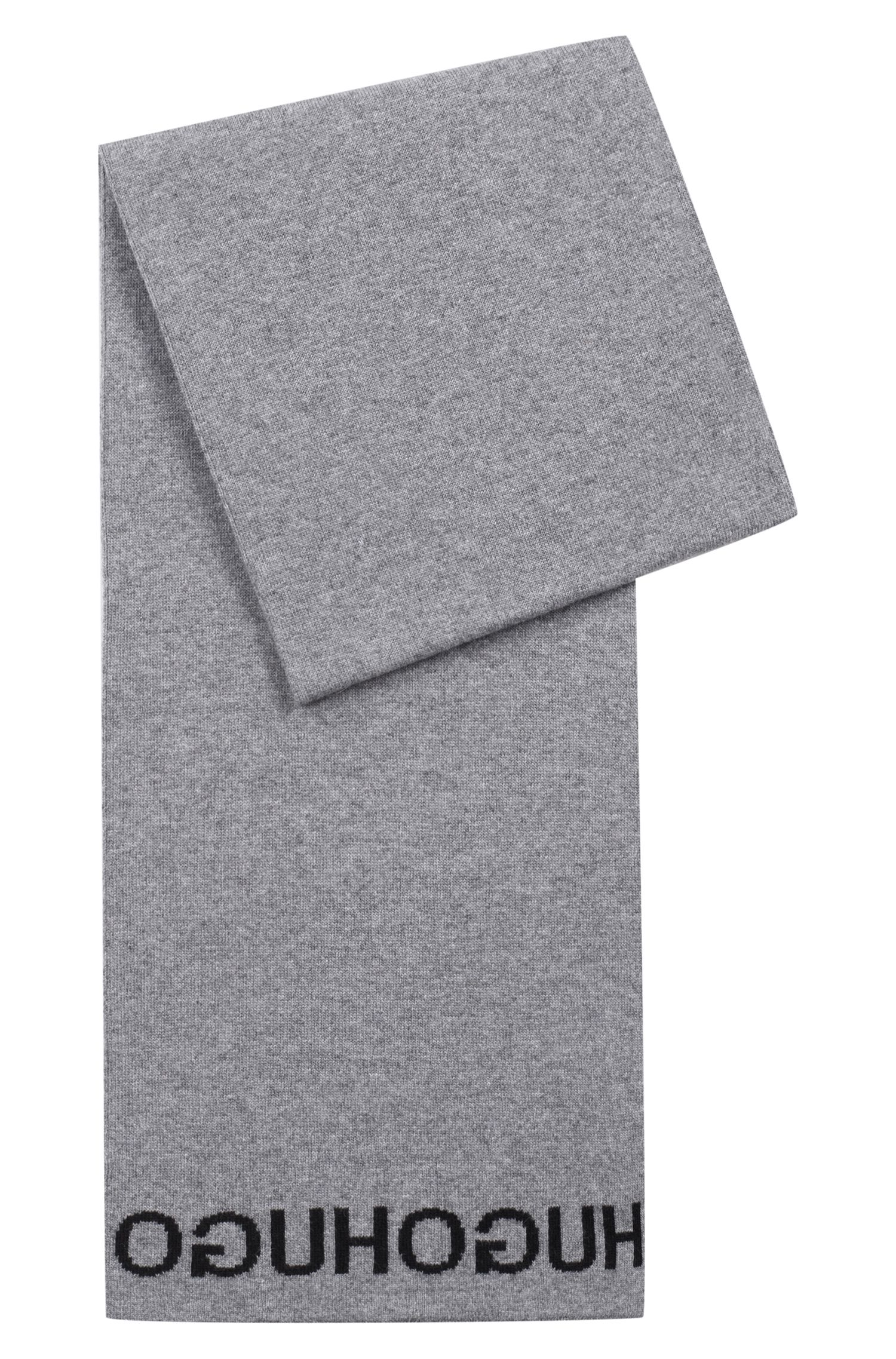 Knitted scarf with repeat reverse jacquard logo, Open Grey