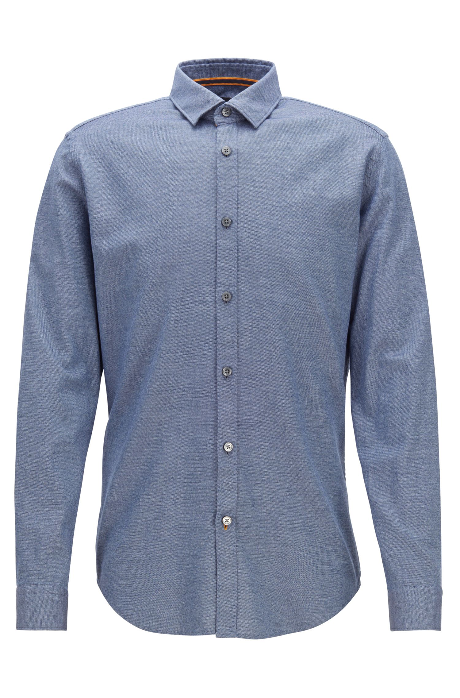 Slim-fit shirt in mouliné cotton with natural stretch, Open Blue