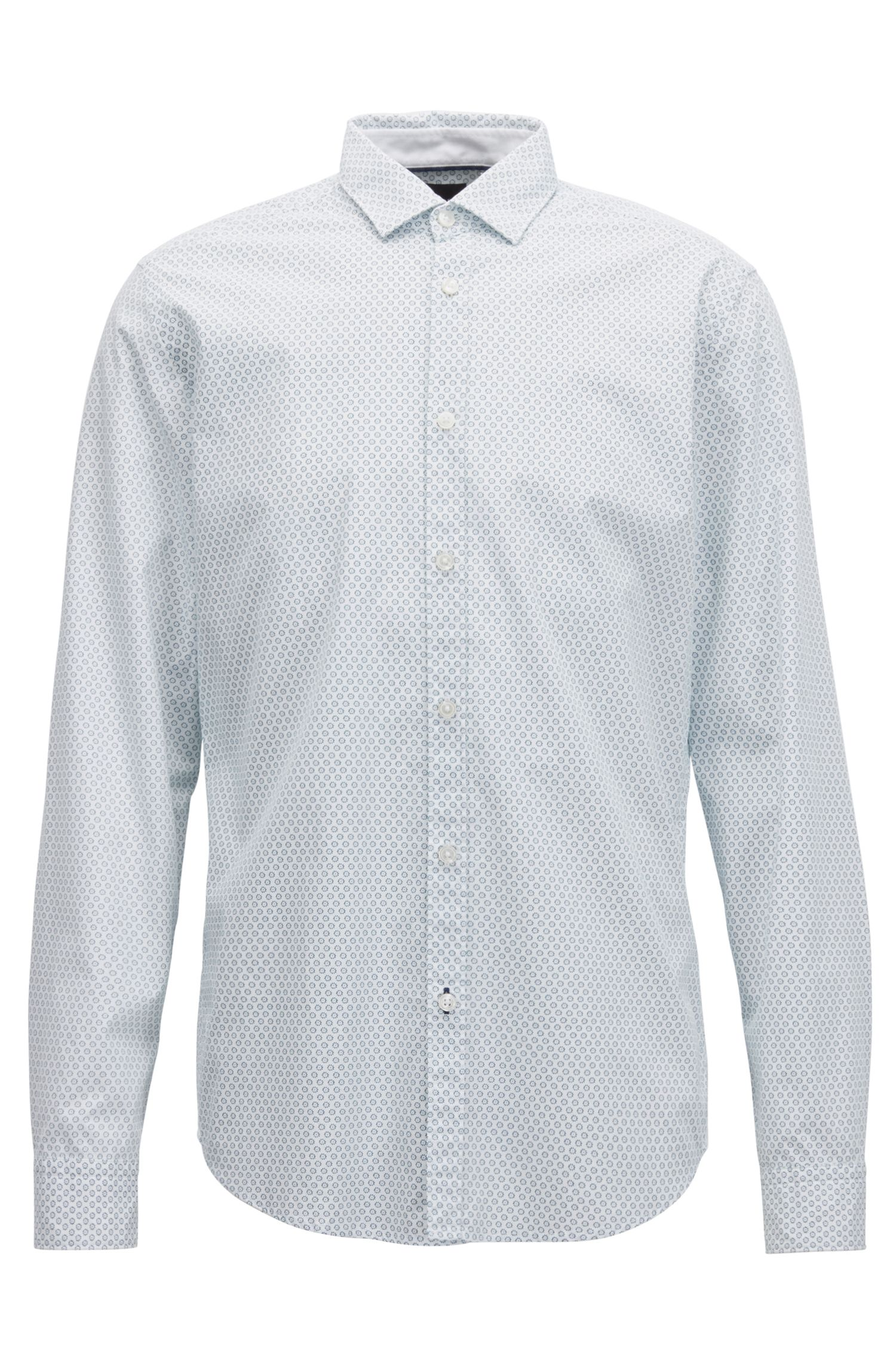 Regular-fit shirt in washed printed cotton, Turquoise