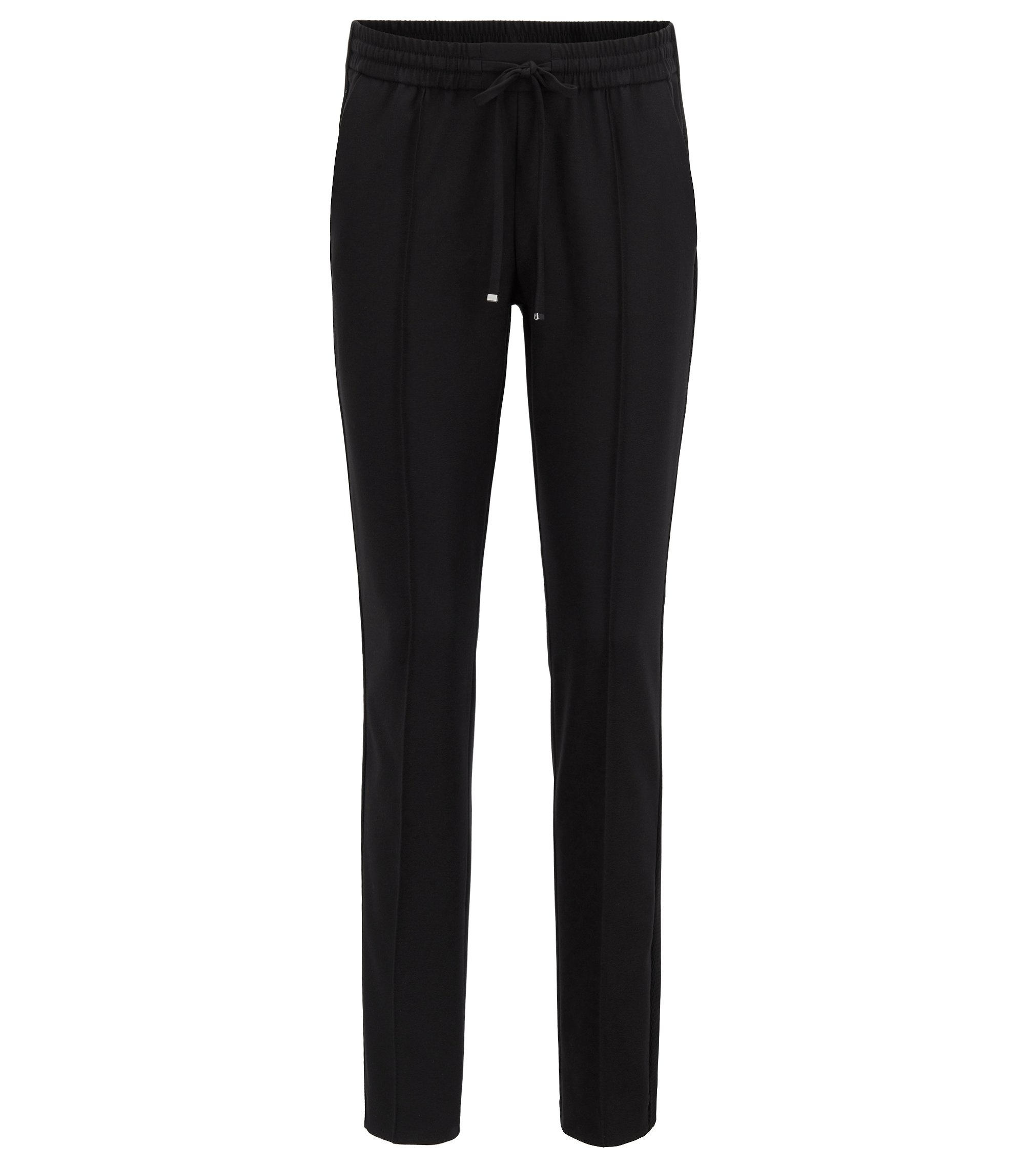 Relaxed-fit pants in stretch fabric with cropped leg, Black