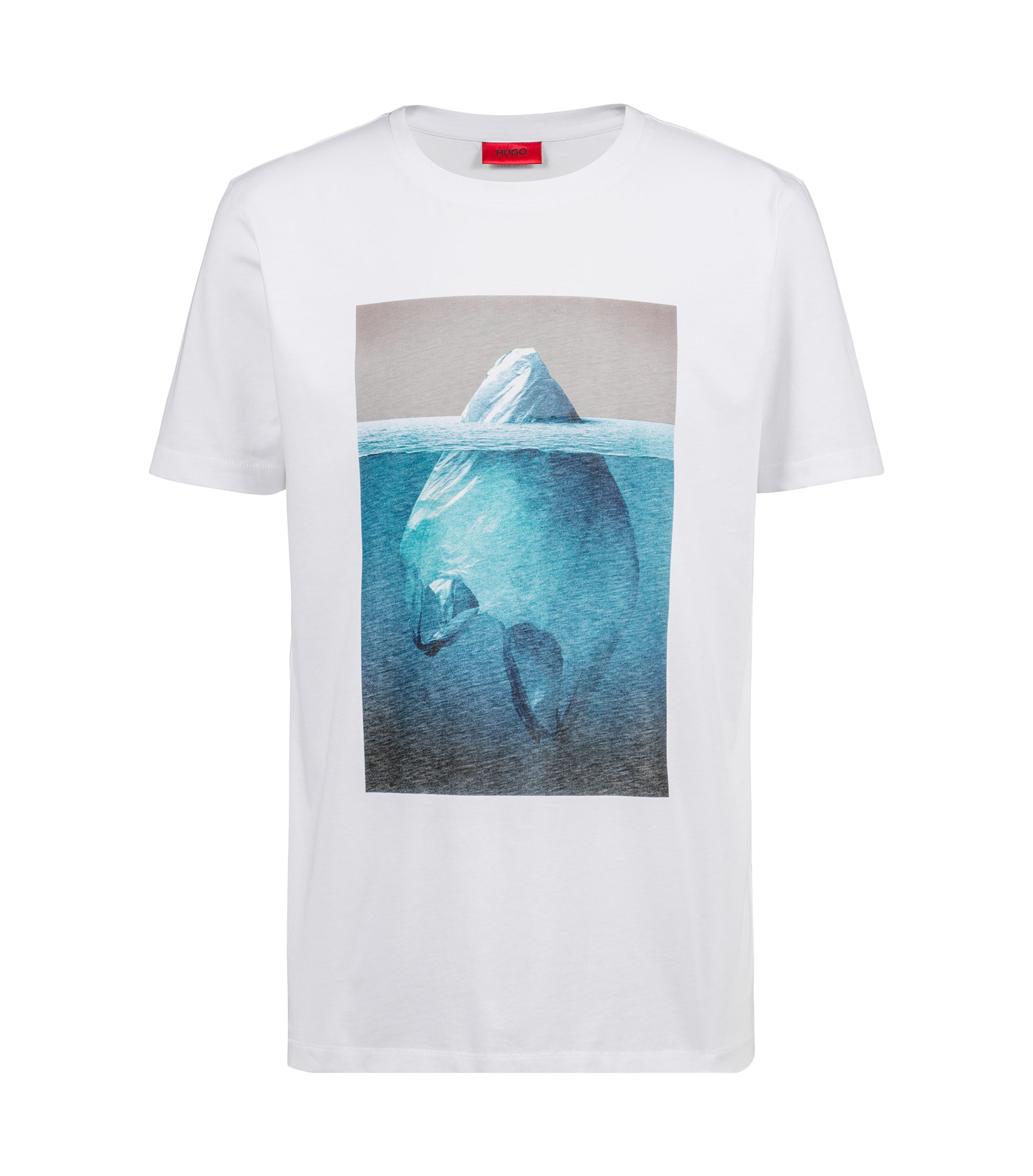 Relaxed-fit cotton T-shirt with iceberg graphic, White