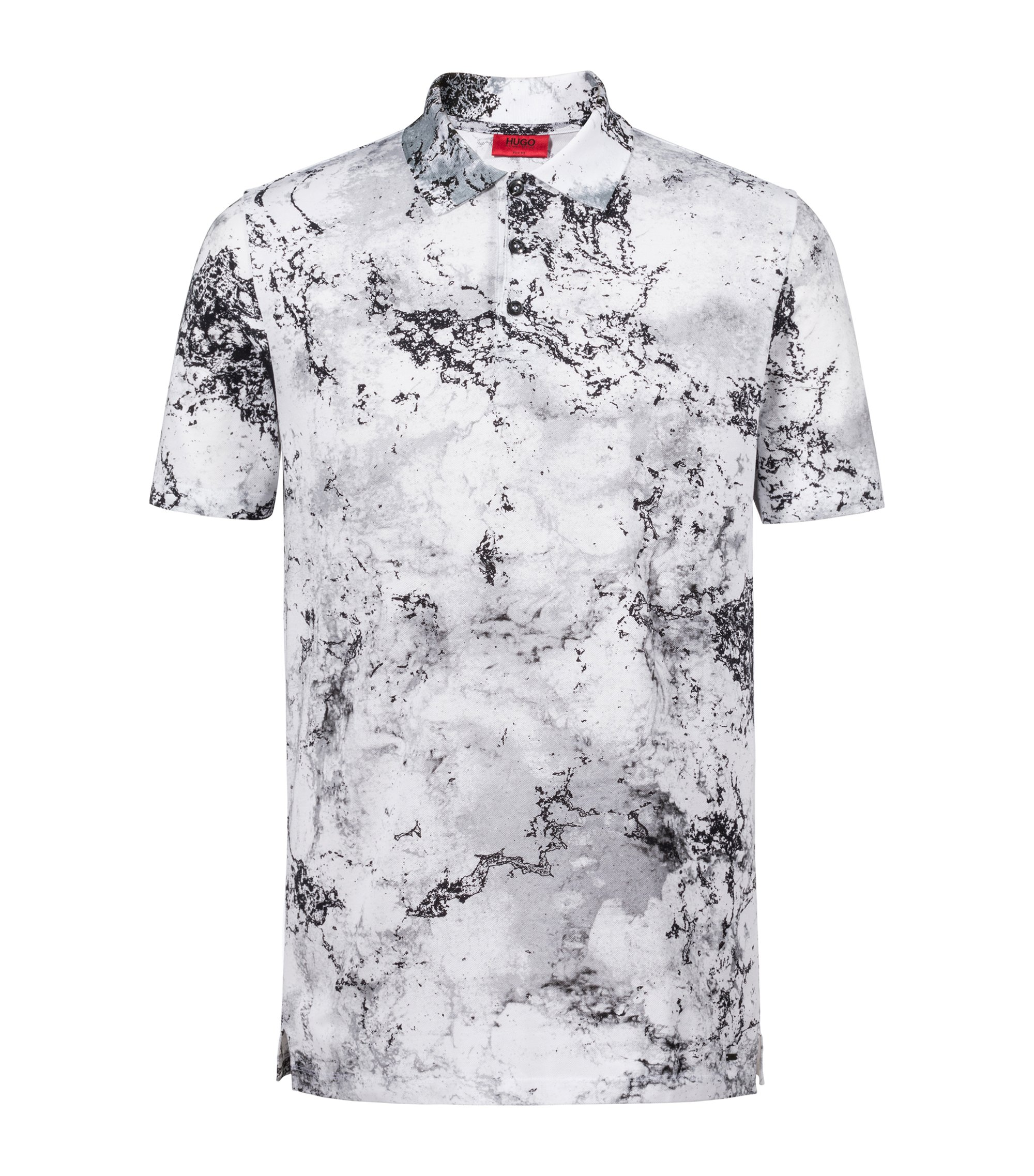 Slim-fit cotton polo shirt with collection artwork, Patterned