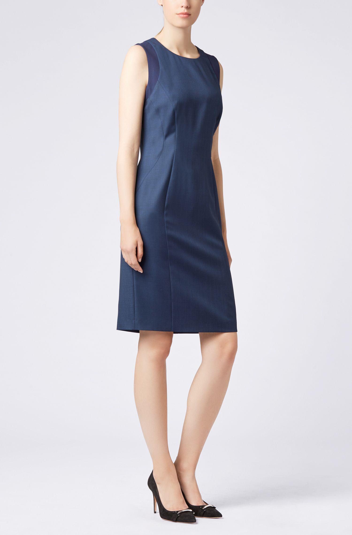 Slim-fit shift dress in a stretch-wool blend, Open Blue