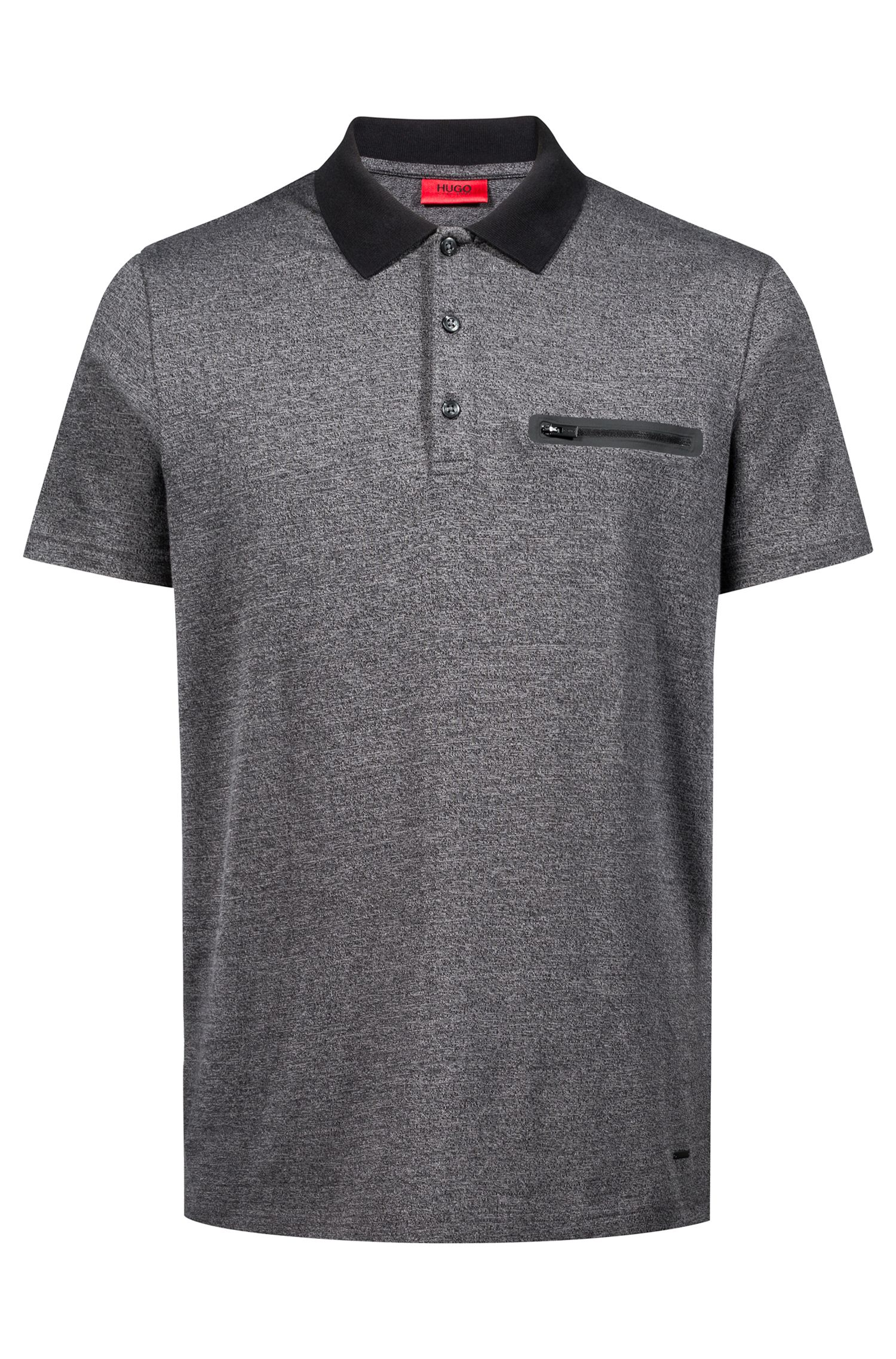 Relaxed-fit polo shirt in mouliné jersey with zippered pocket, Black