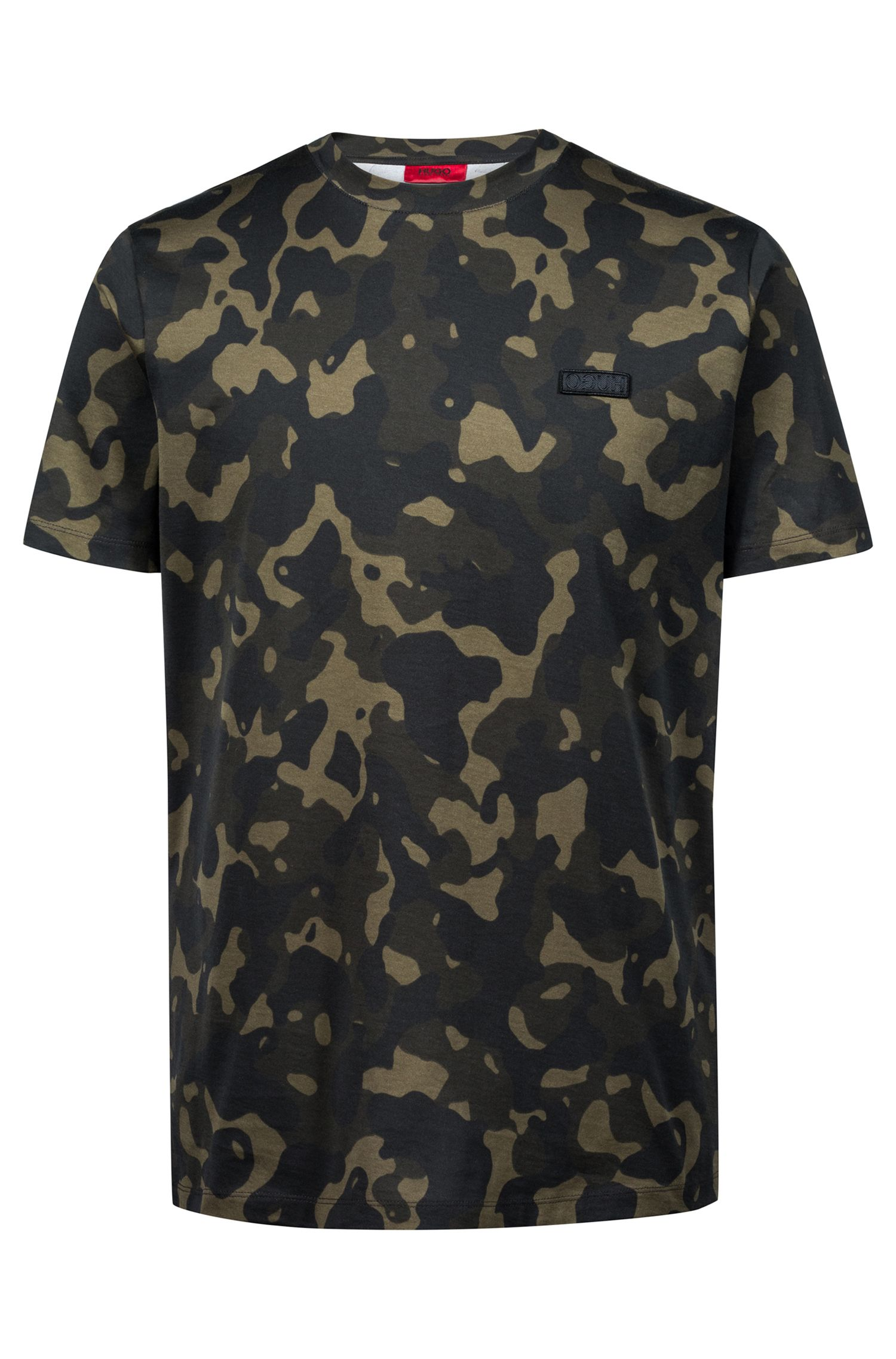 Relaxed-fit T-shirt in pure cotton with camouflage print