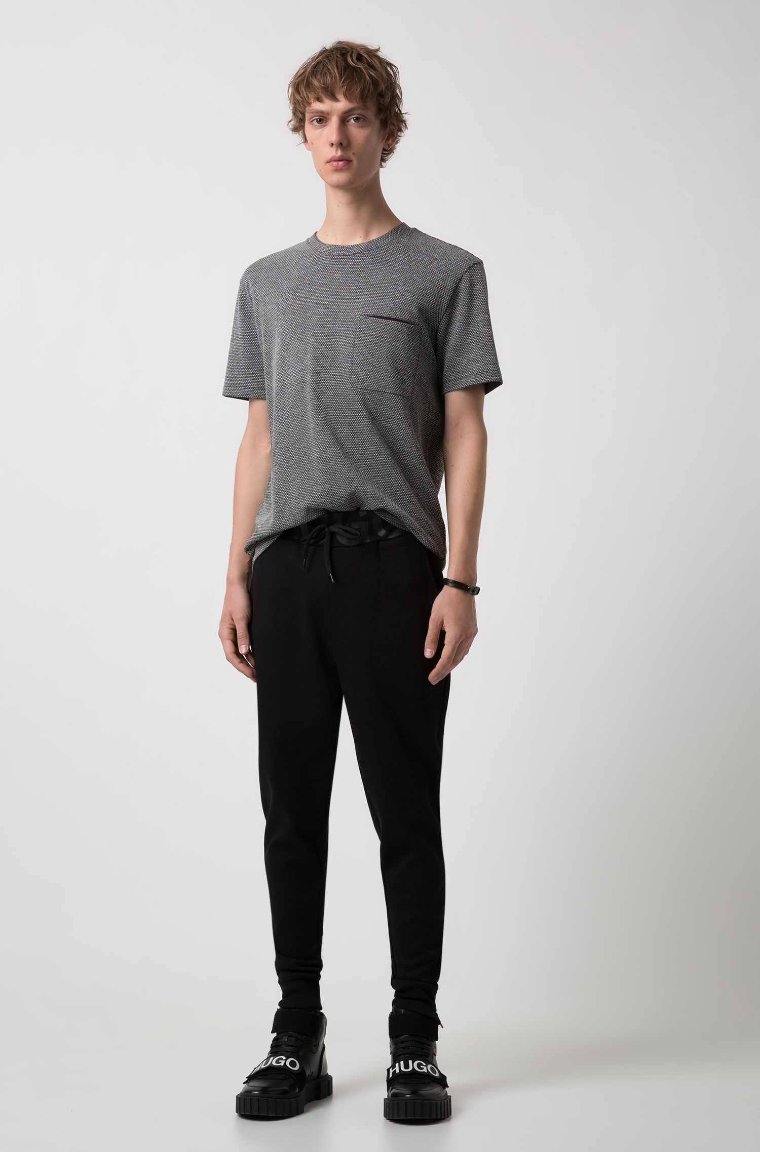Oversized-fit T-shirt in structured stretch jersey, Charcoal