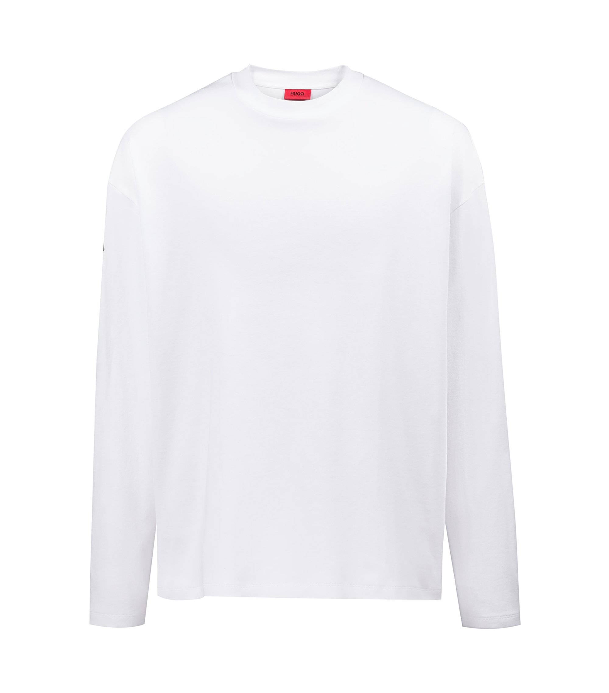 Oversized-fit T-shirt in cotton with printed grid reference, White