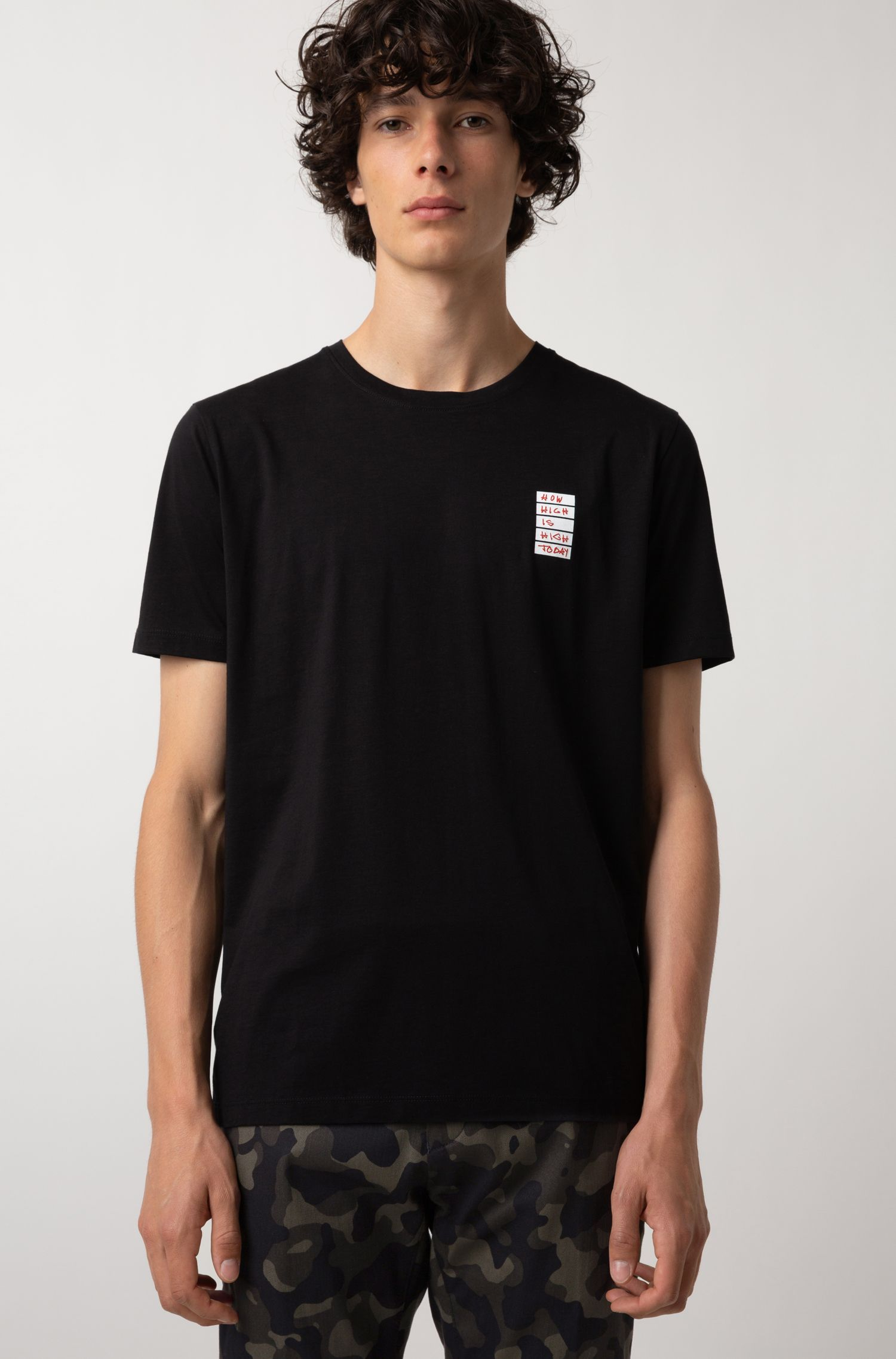 Relaxed-fit slogan T-shirt in Pima cotton, Black