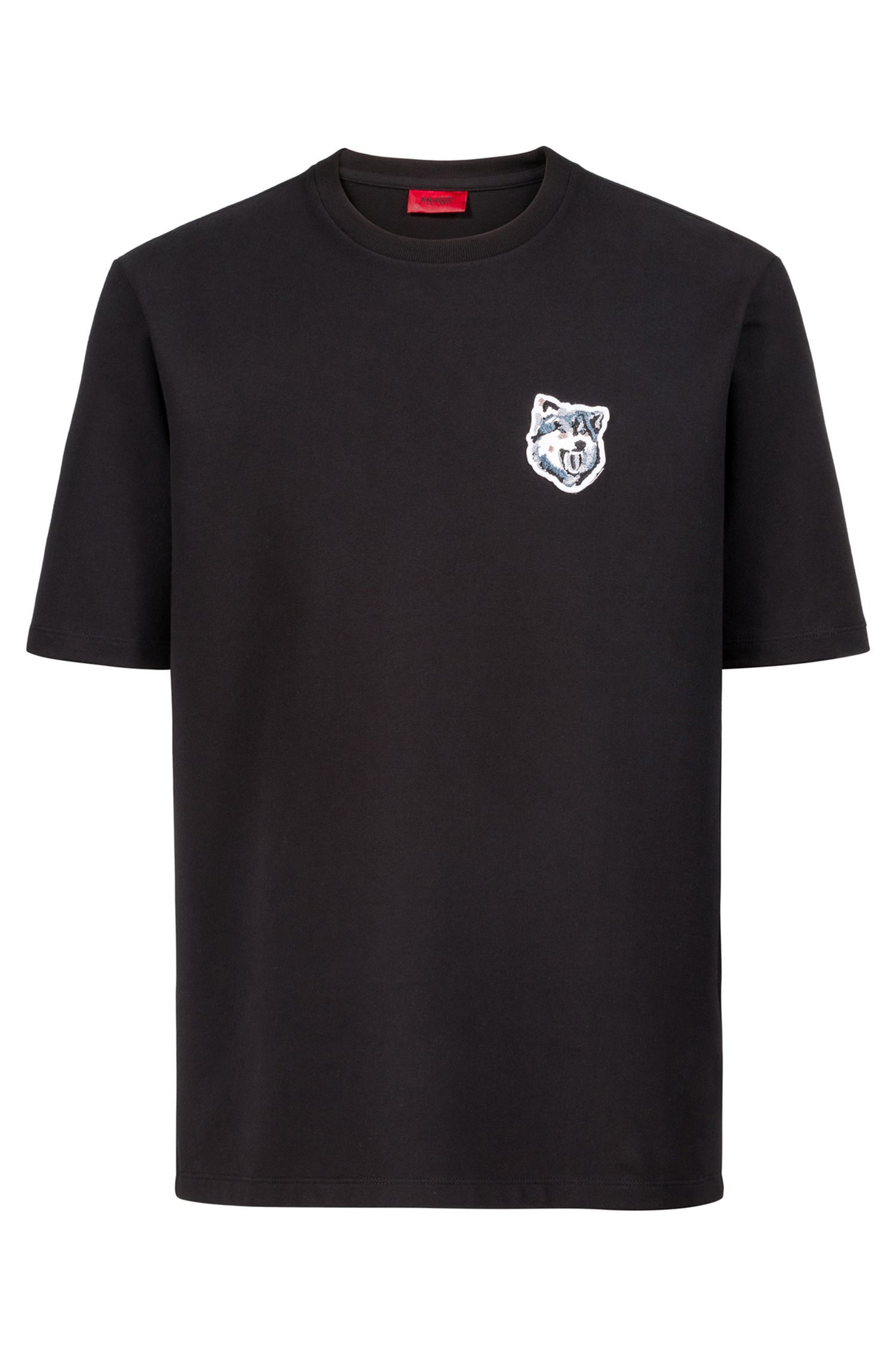 Oversized-fit T-shirt in French terry with wolf badge, Black