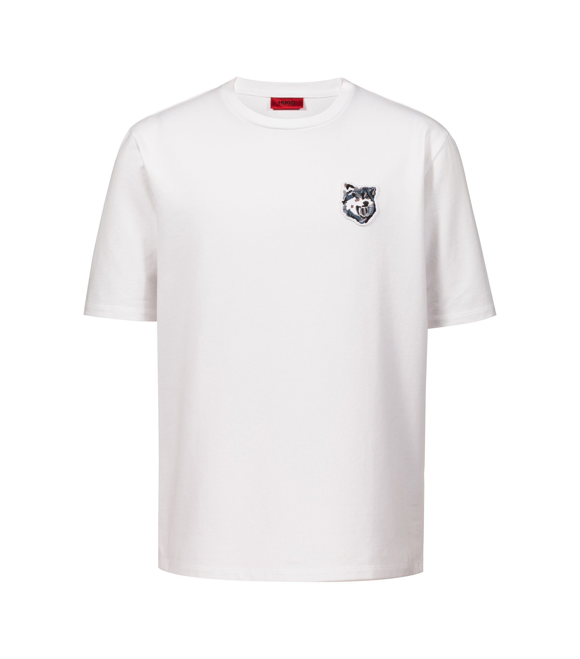 Oversized-fit T-shirt in French terry with wolf badge, White