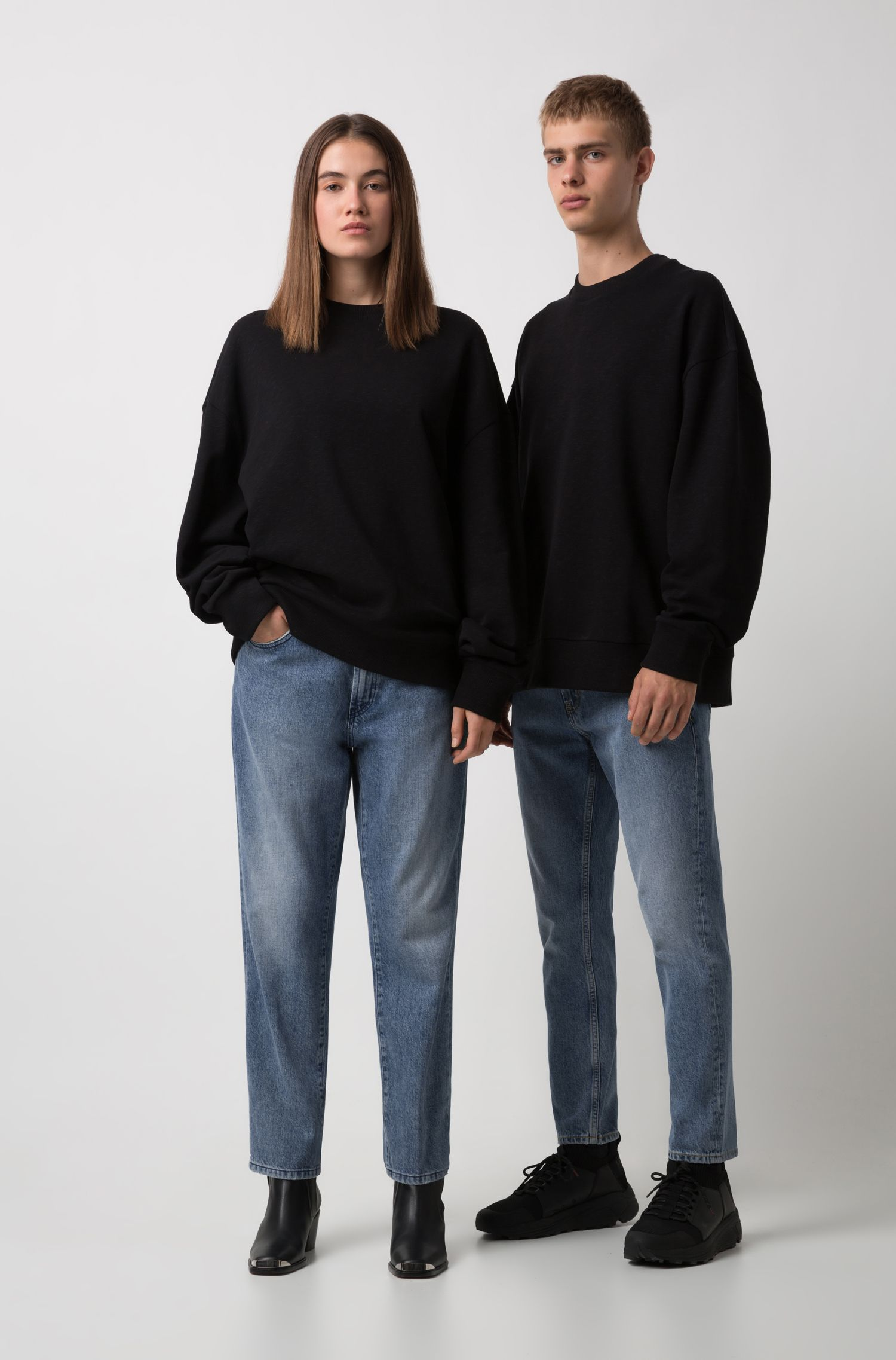 Unisex oversized-fit sweatshirt in slub French terry, Black