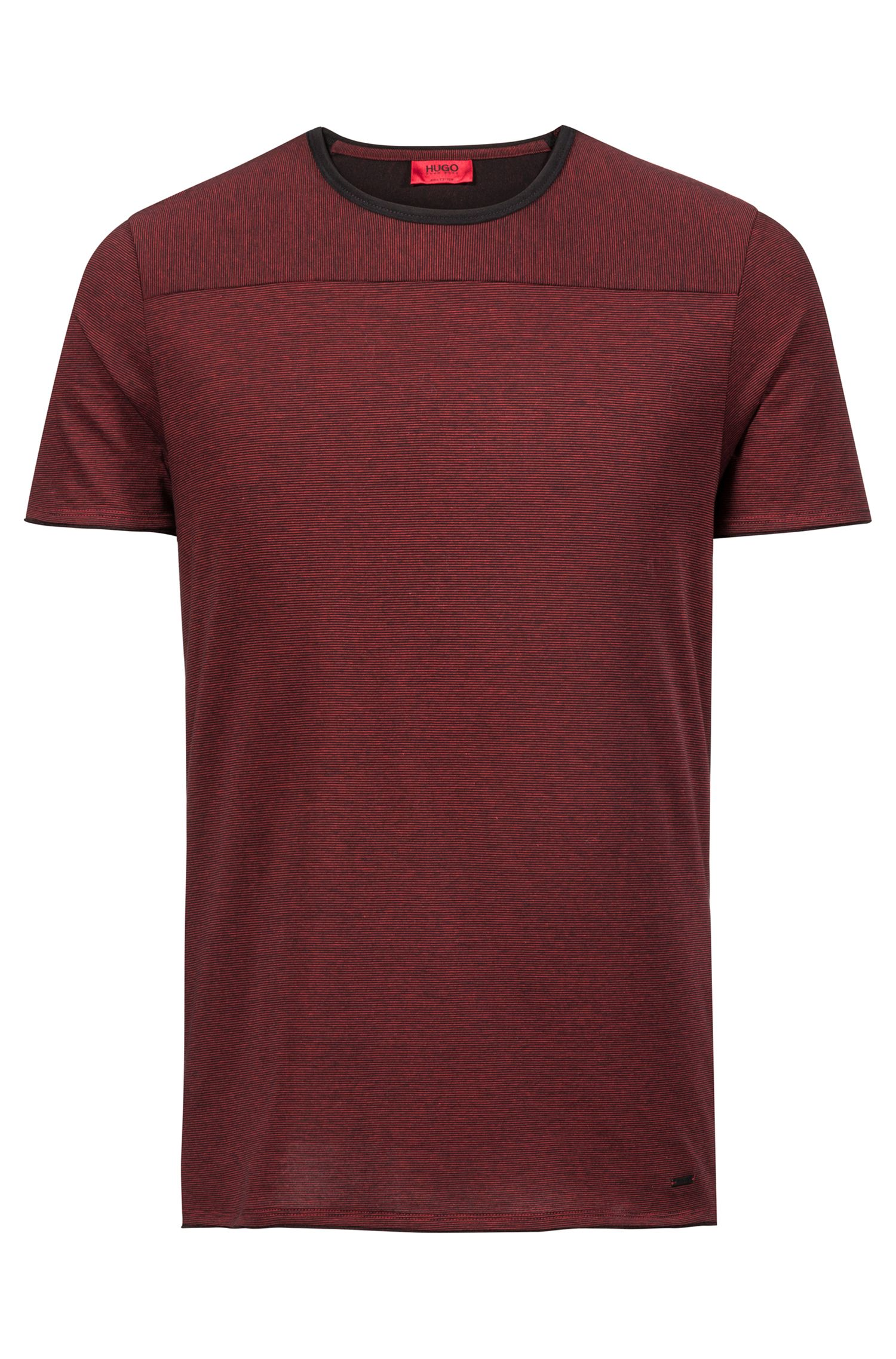 Crew-neck T-shirt in Pima cotton with spliced stripes, Black