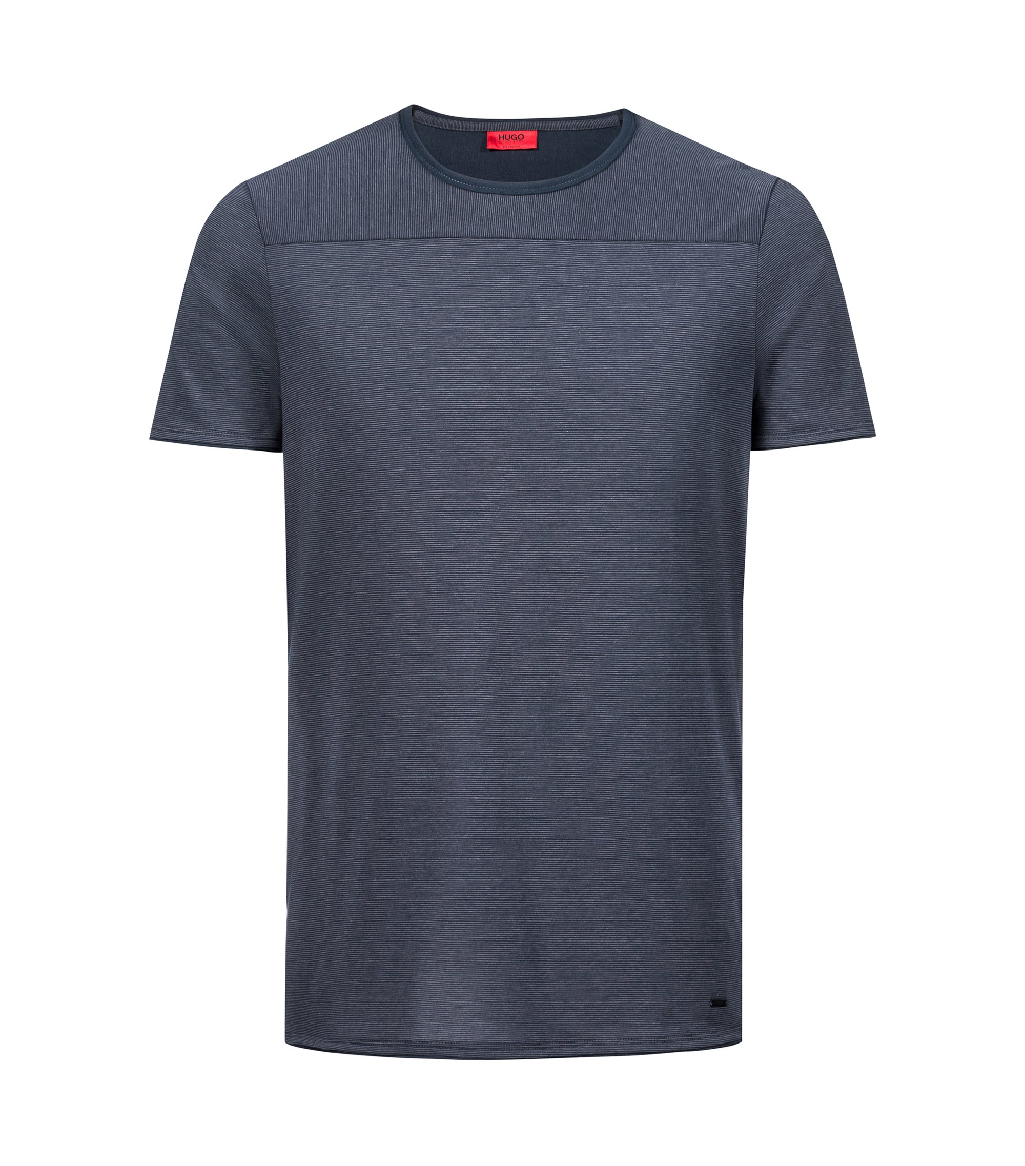 Crew-neck T-shirt in Pima cotton with spliced stripes, Dark Blue