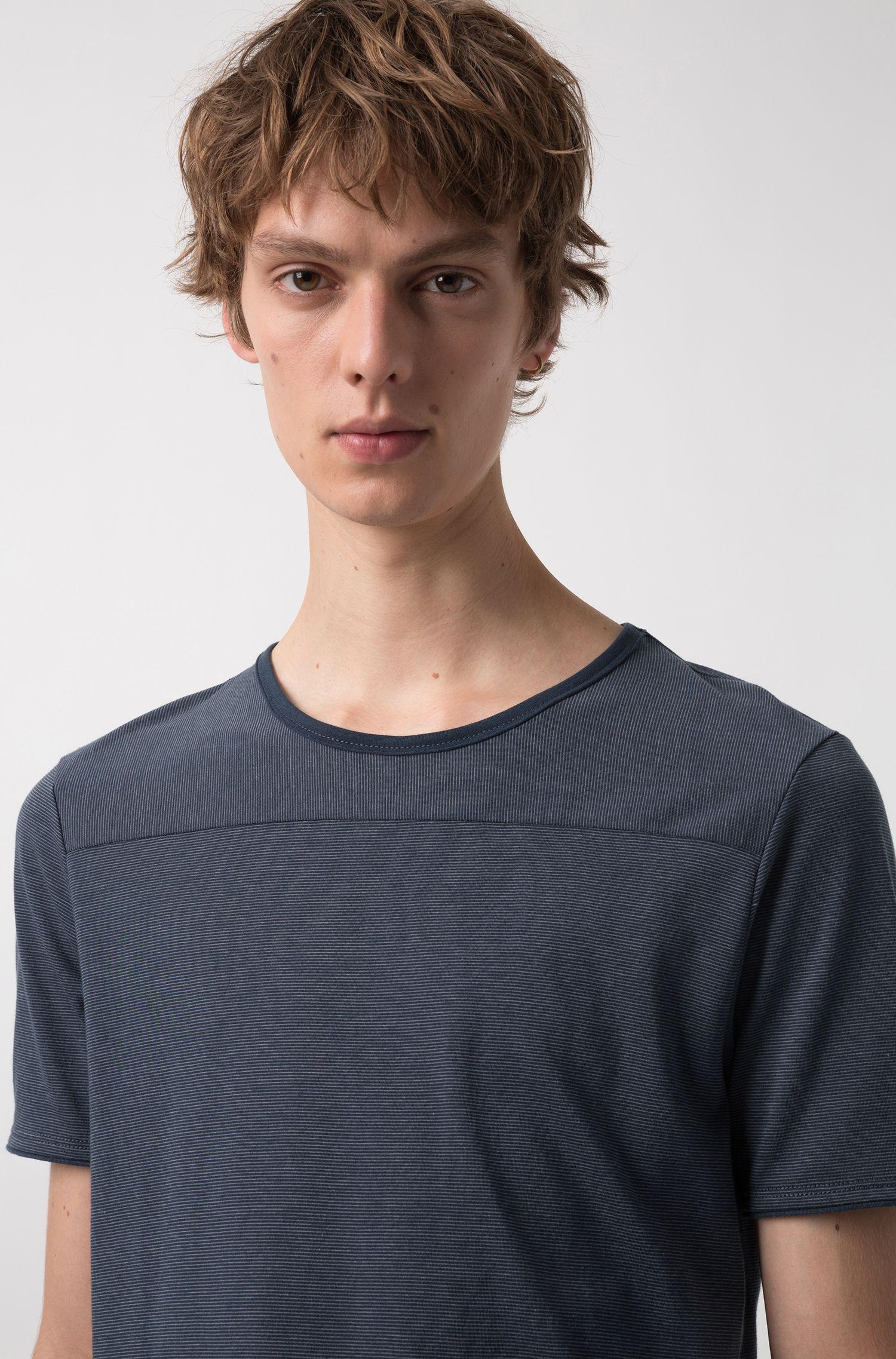 Crew-neck T-shirt in Pima cotton with spliced stripes, Dark Blue