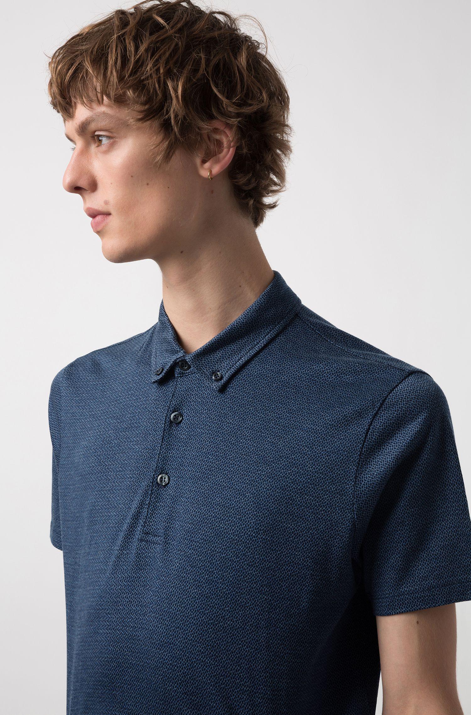 Regular-fit knitted polo shirt in lightweight cotton jacquard, Dark Blue