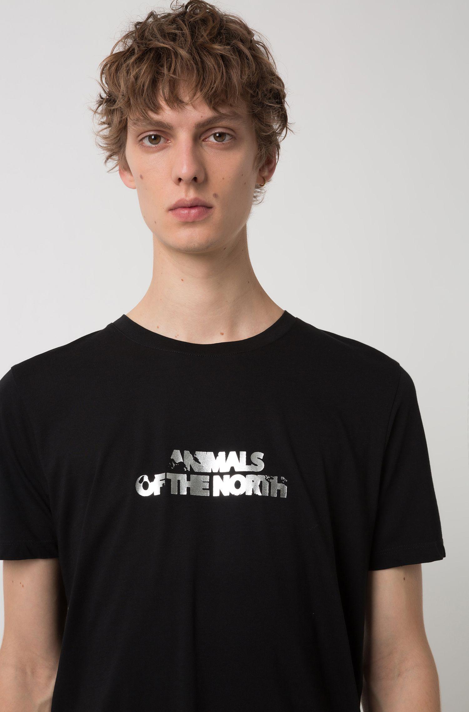 Single-jersey T-shirt with printed metallic slogan, Black