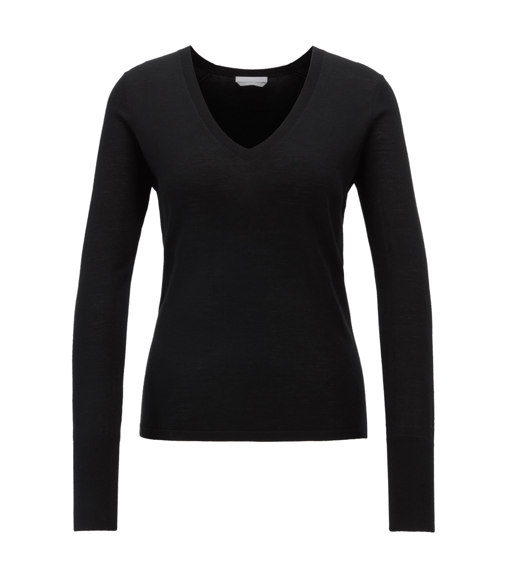 V-neck sweater in knitted virgin wool, Black