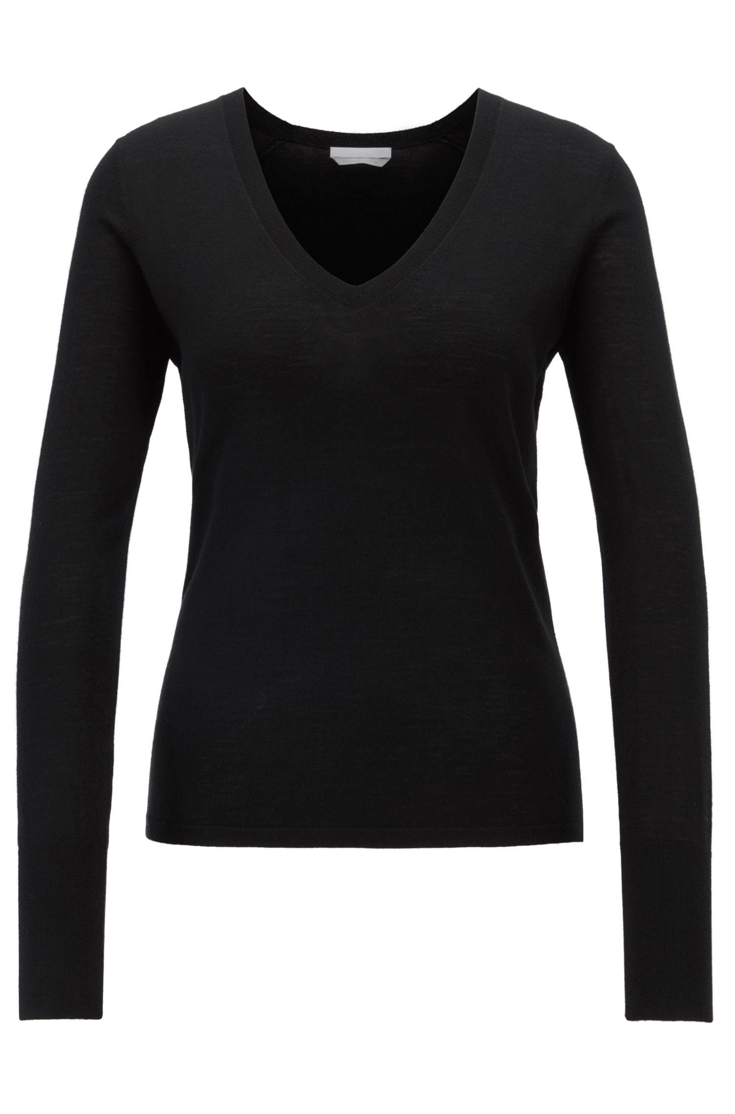 V-neck sweater in knitted virgin wool, Black