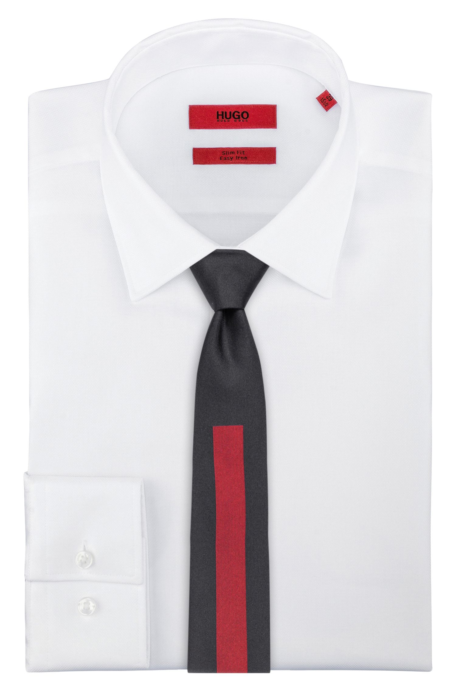 Color-block tie in silk jacquard, Red