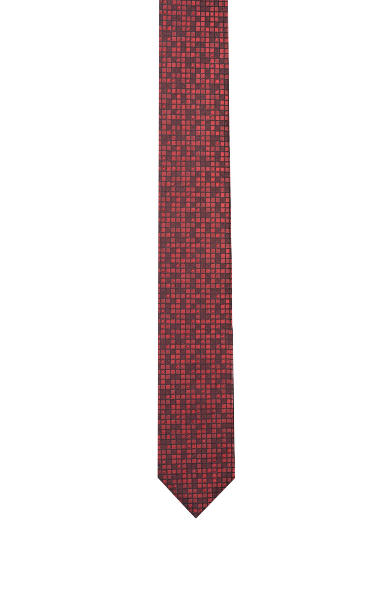 Silk-jacquard tie with grid effect, Red