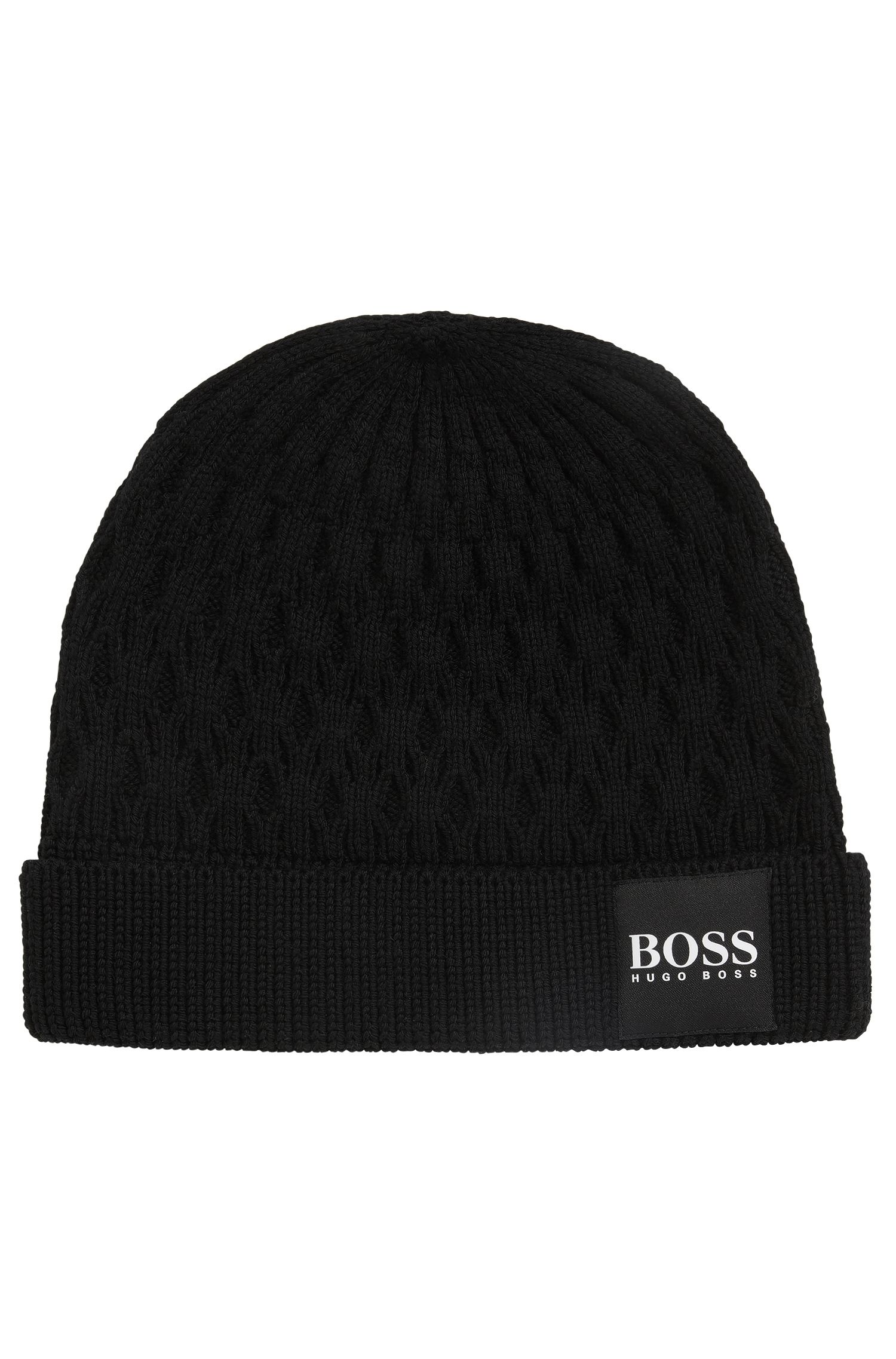 Knitted beanie hat in structured virgin wool, Black
