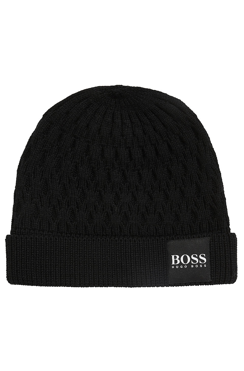 d99a1772d76c9 BOSS - Knitted beanie hat in structured virgin wool