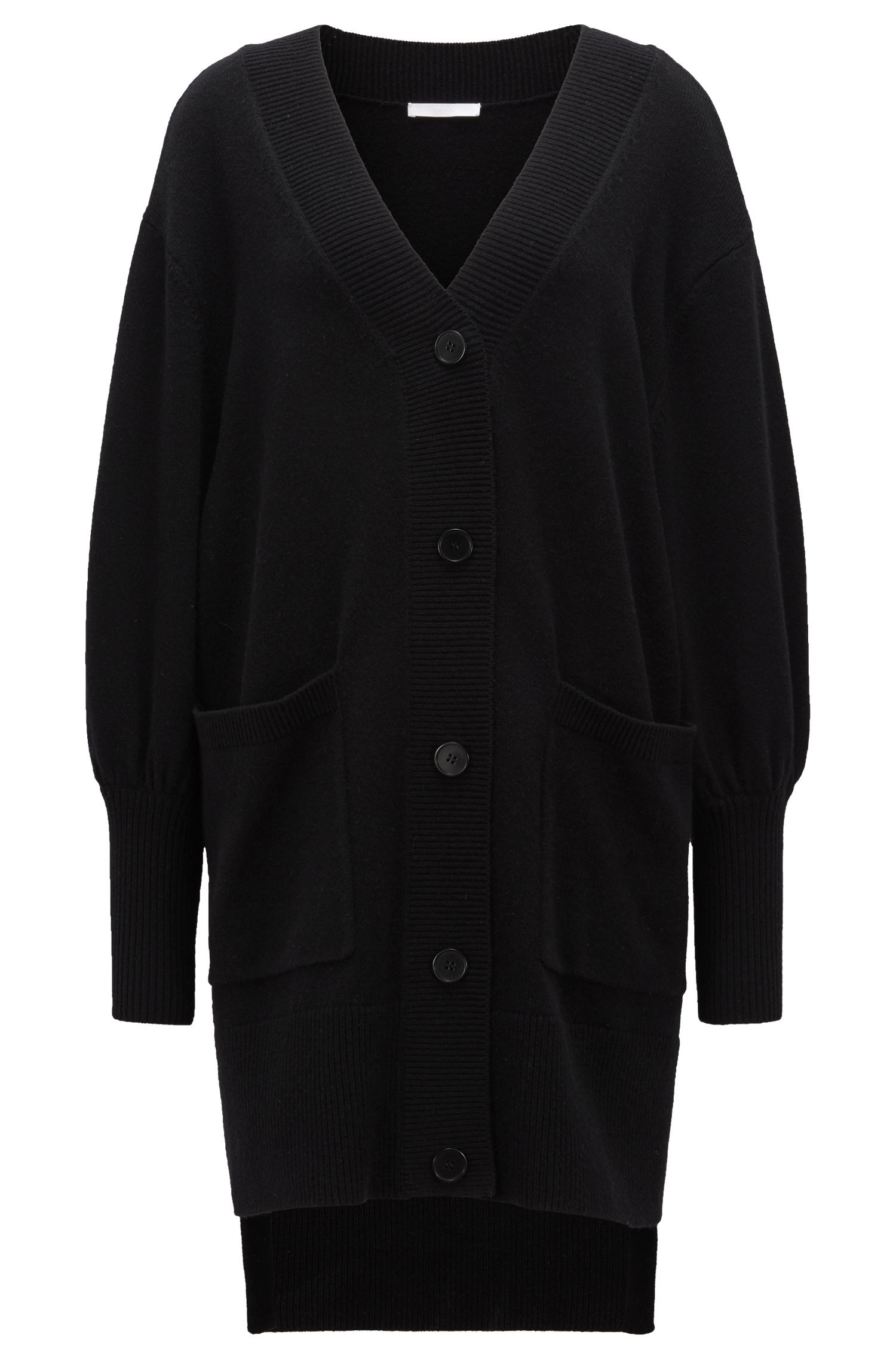 Relaxed-fit long cardigan in mixed wools, Black