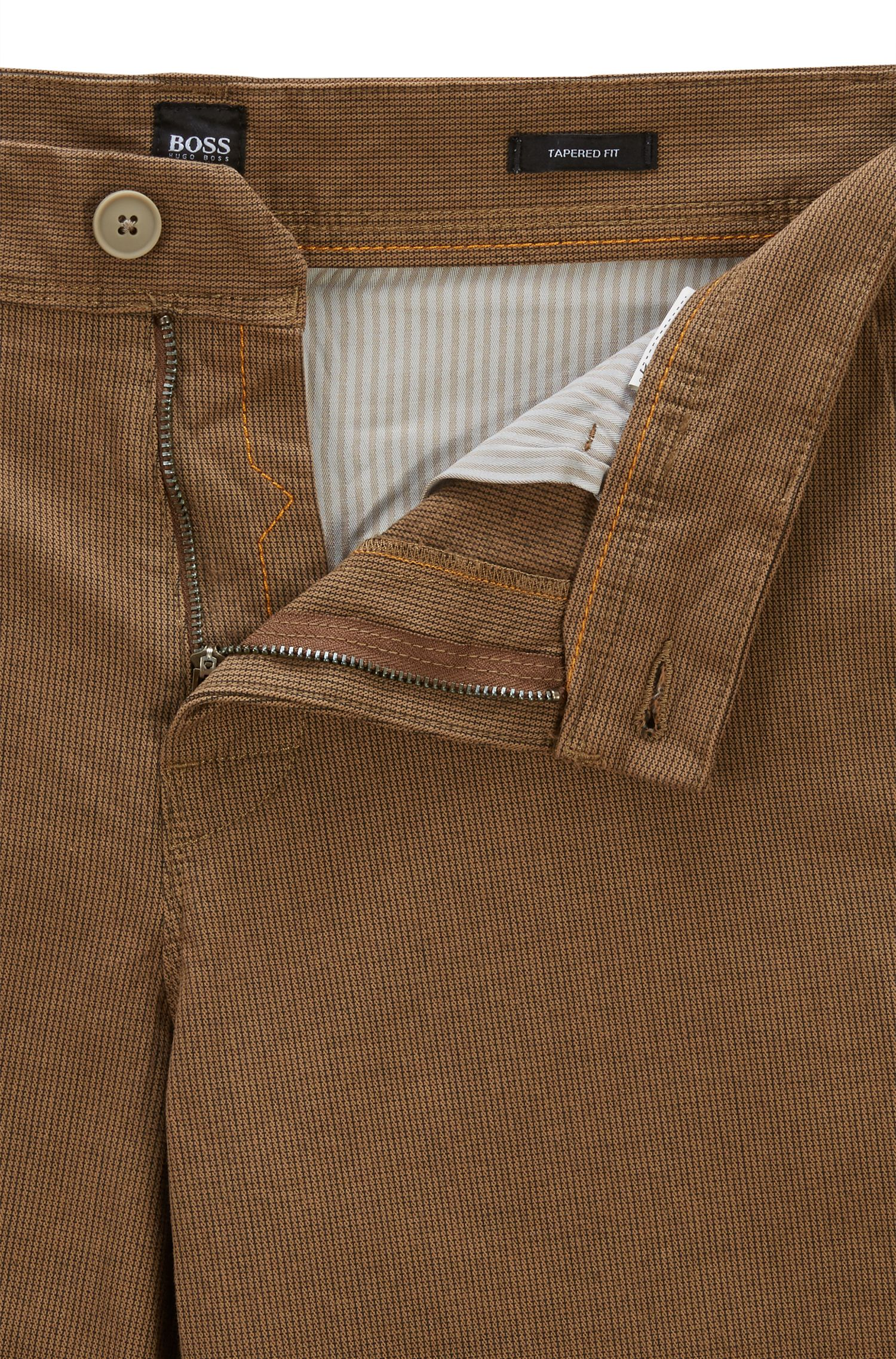 Tapered-fit chinos in micro-structured stretch cotton, Open Beige