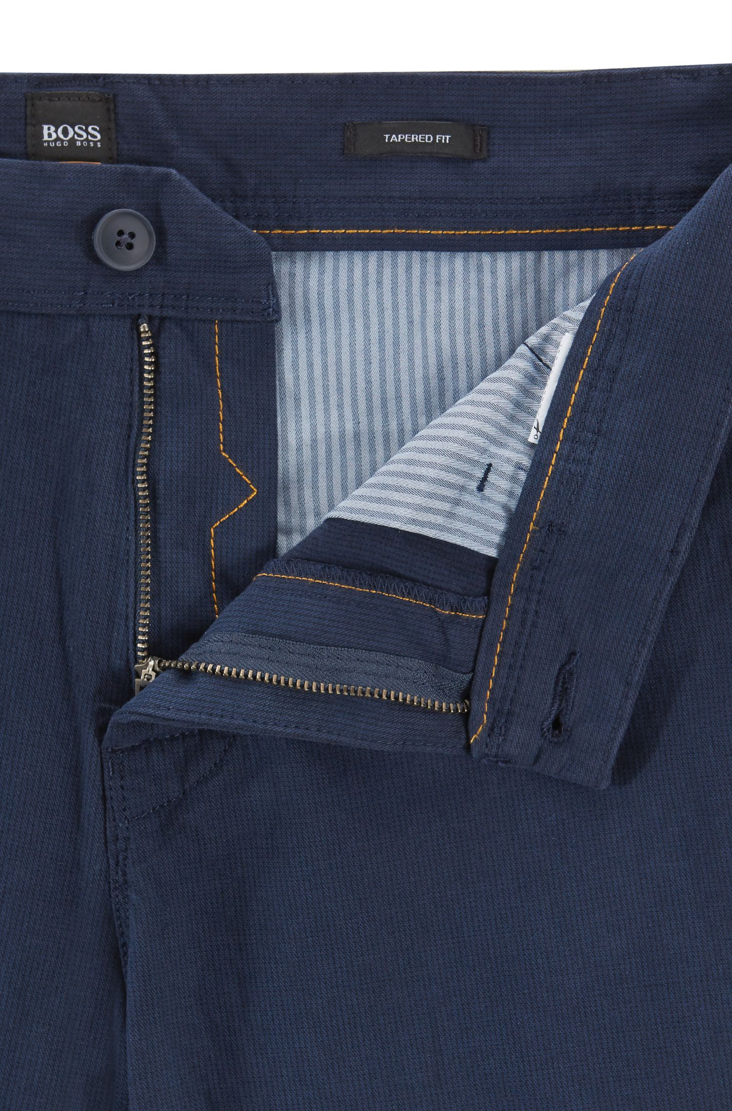 Tapered-fit chinos in micro-structured stretch cotton, Dark Blue
