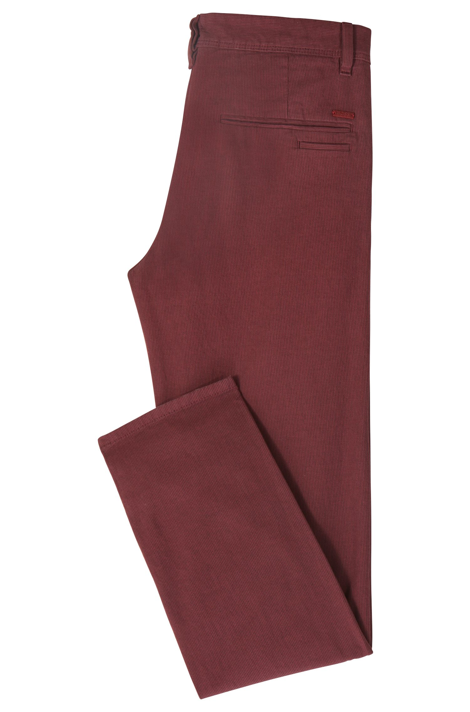 Tapered-fit chinos in micro-structured stretch cotton, Open Red